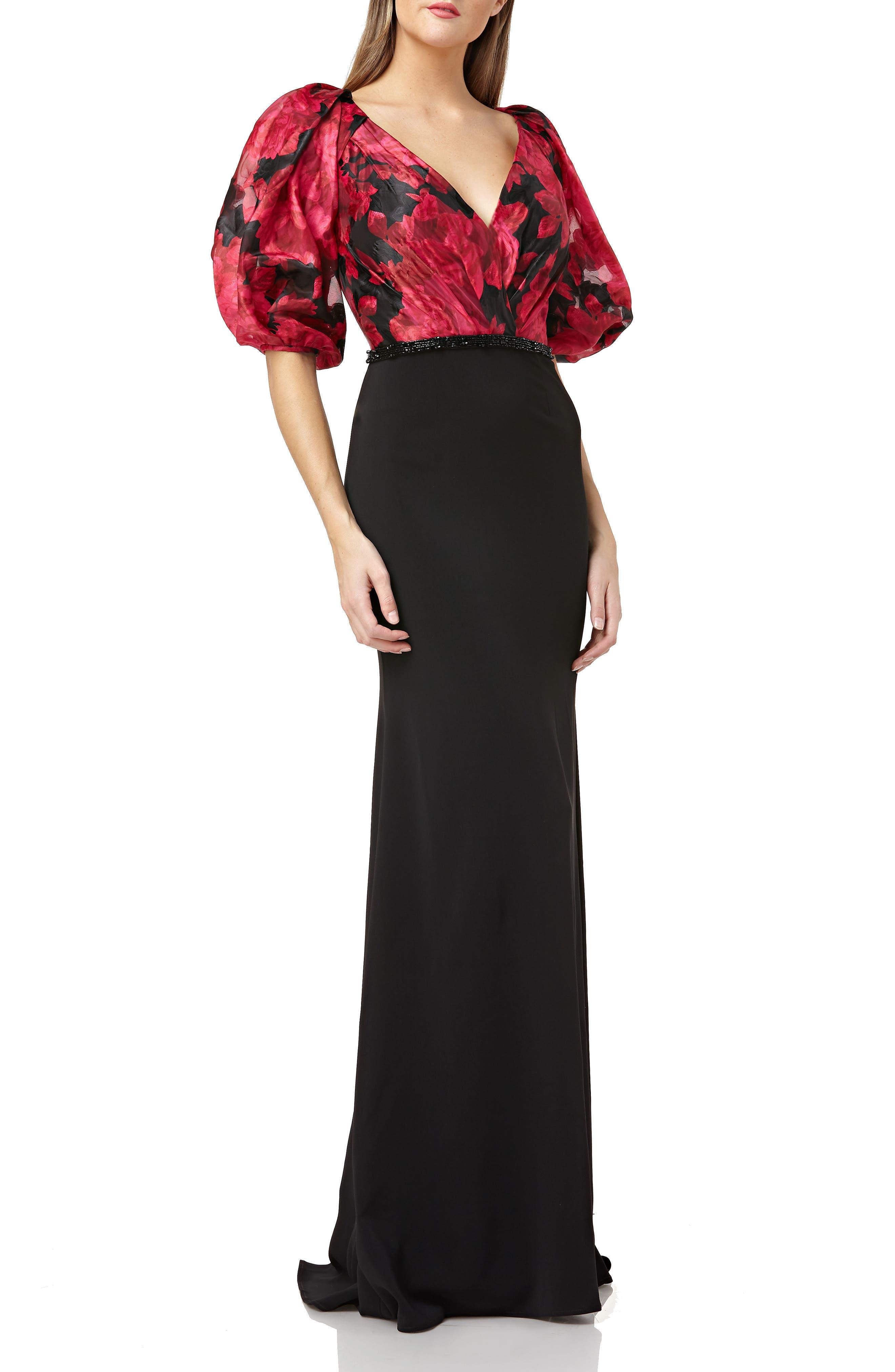 Carmen Marc Valvo Infusion Floral Print Organza Bodice Evening Dress, Black