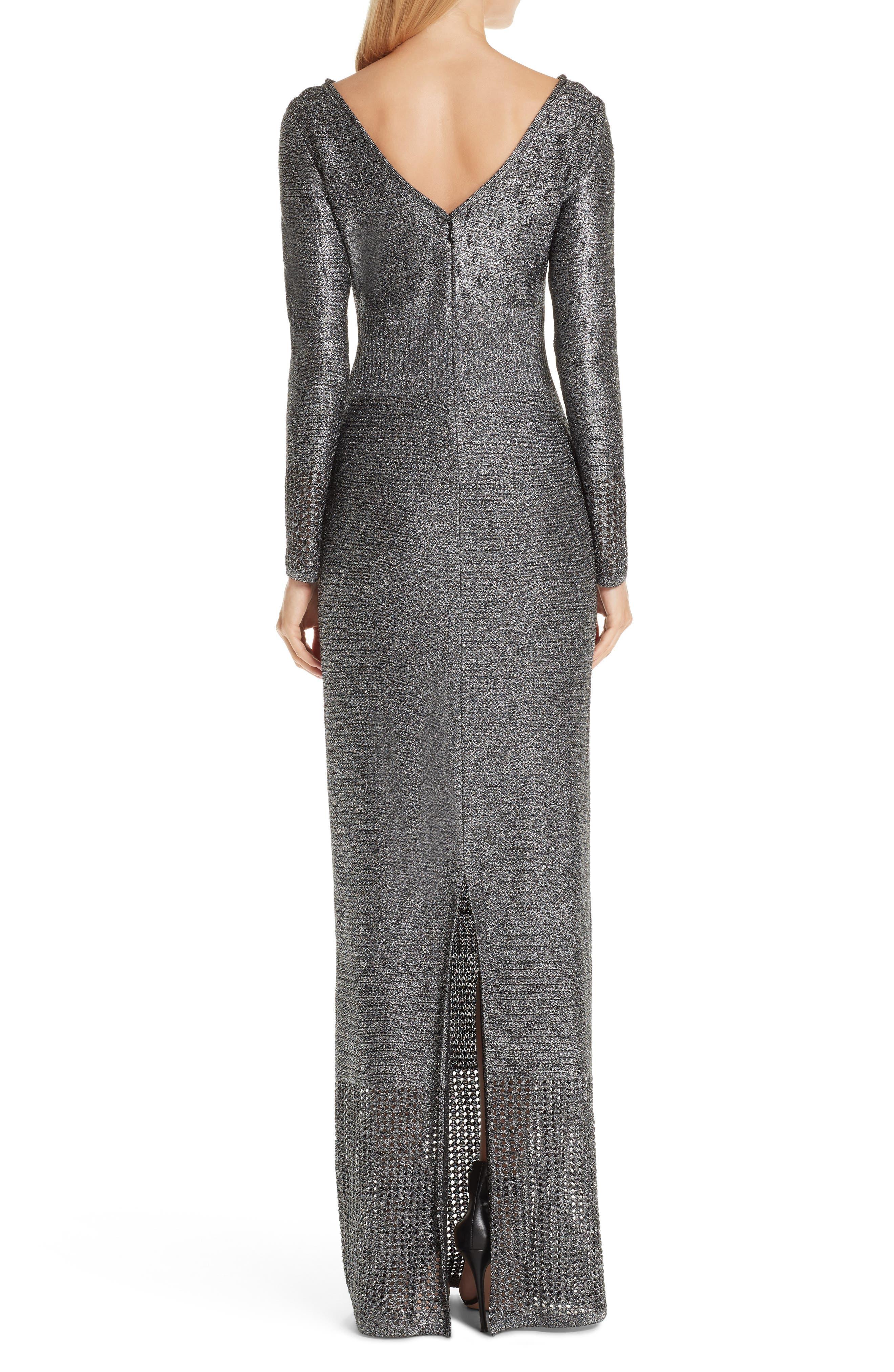 ST. JOHN COLLECTION, Metallic Plaited Mixed Knit Gown, Alternate thumbnail 2, color, GUNMETAL/ CAVIAR