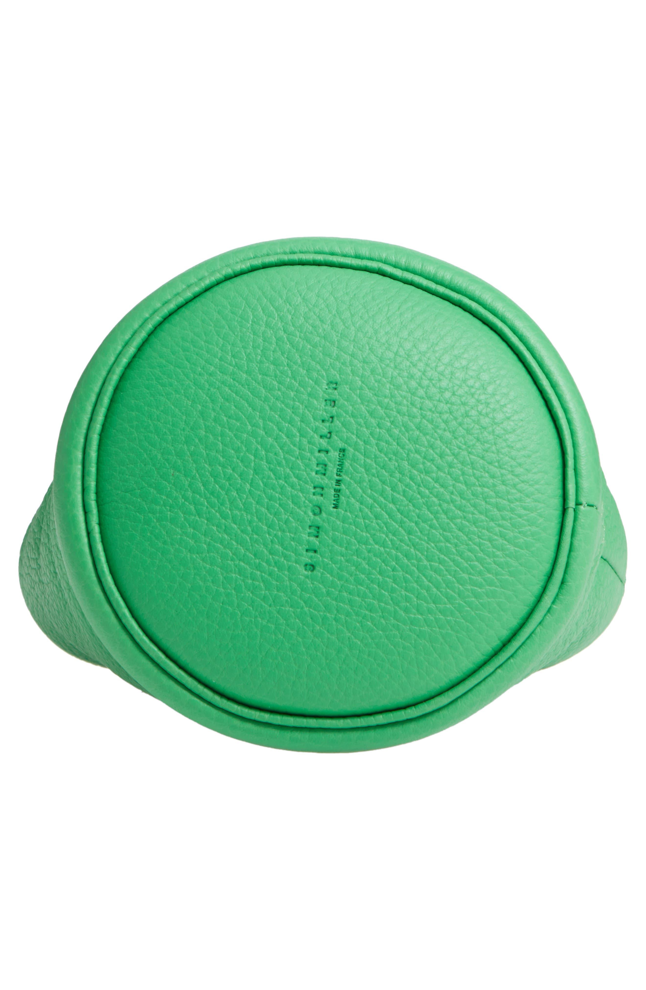 SIMON MILLER, Bonsai 15 Calfskin Leather Bucket Bag, Alternate thumbnail 6, color, NEON GREEN