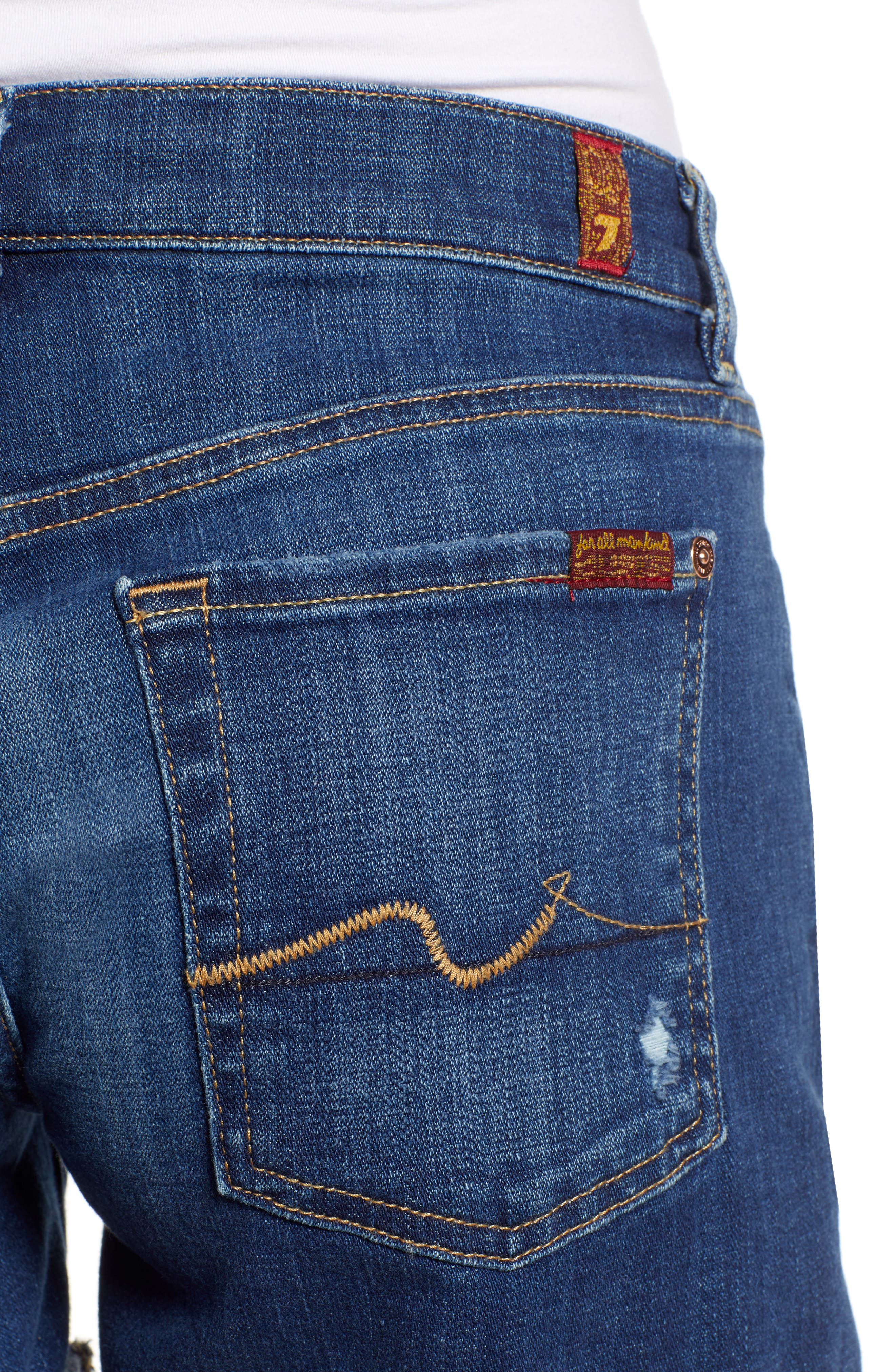 7 FOR ALL MANKIND<SUP>®</SUP>, Roll Cuff Denim Shorts, Alternate thumbnail 4, color, BROKEN TWILL VANITY W/ DESTROY