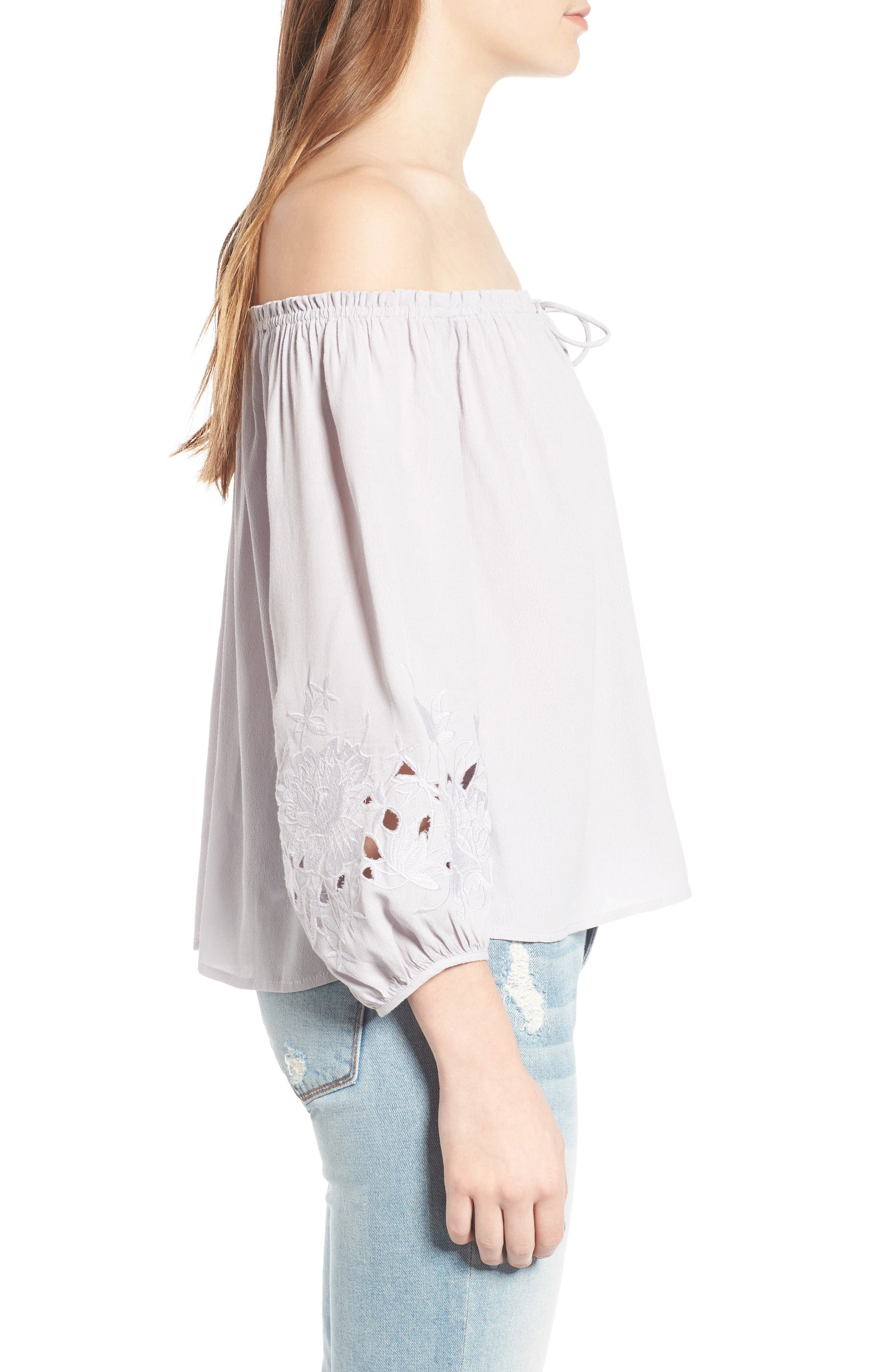 ASTR THE LABEL, Embroidered Off the Shoulder Top, Alternate thumbnail 3, color, 500