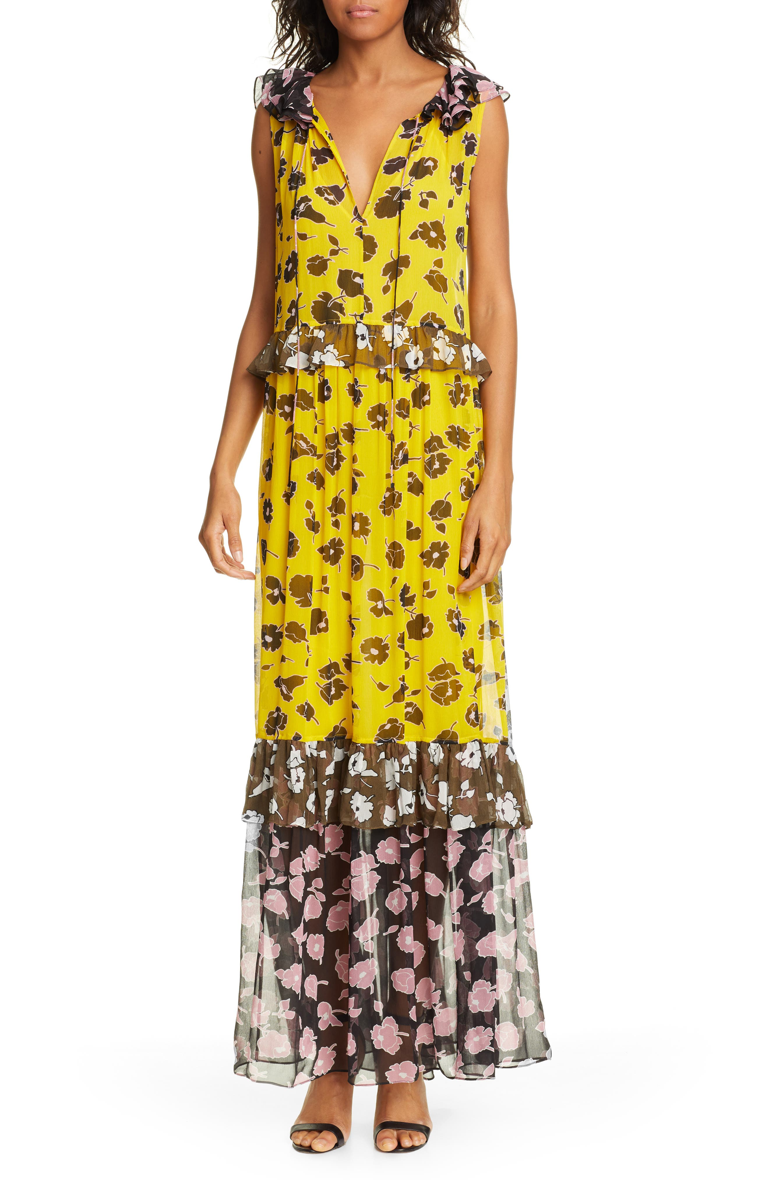 DVF Drea Pattern Mix Tiered Silk Maxi Dress, Main, color, ROSE SHOWERS GOLDENROD MULTI