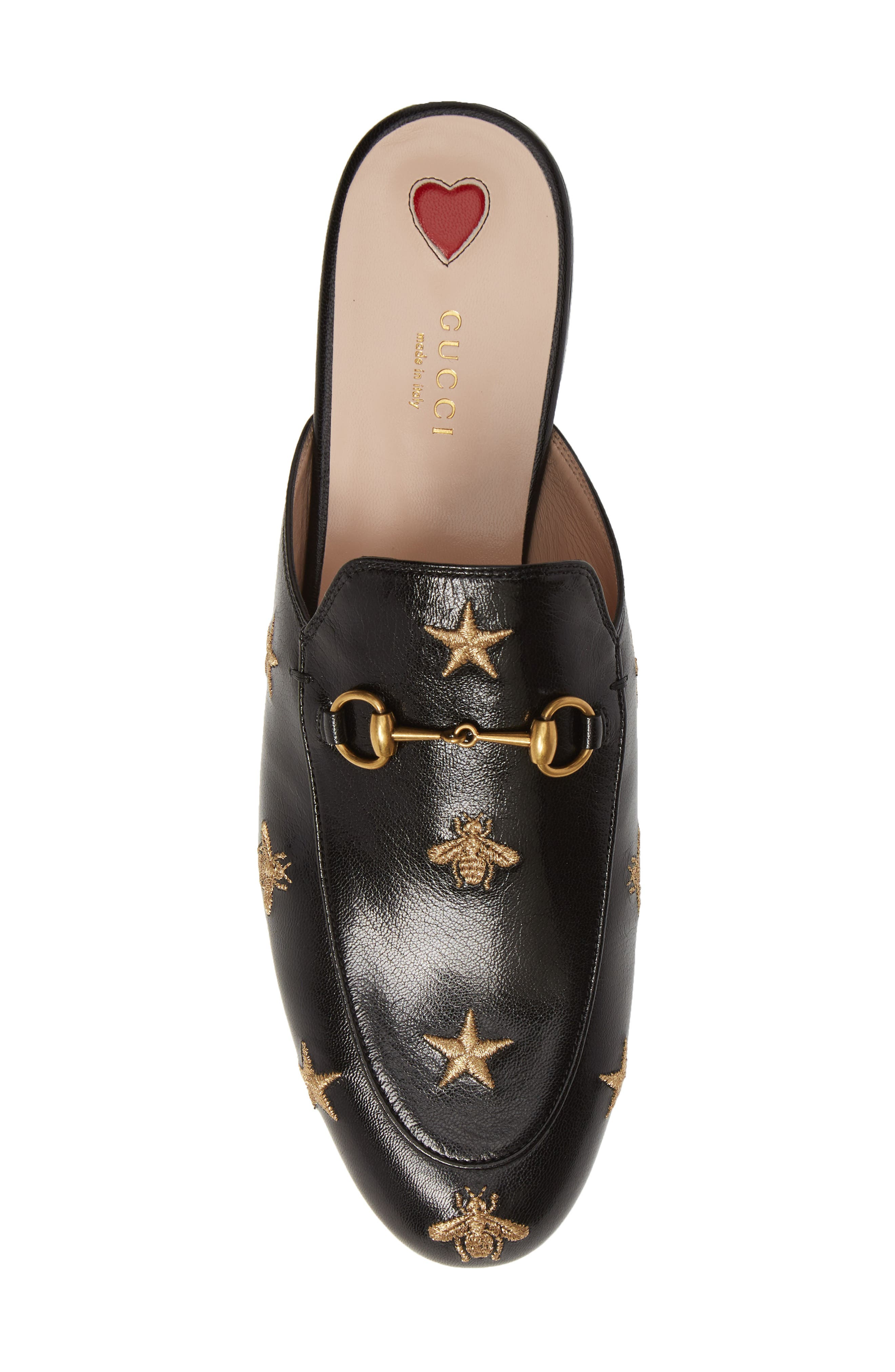 GUCCI, Princetown Mule, Alternate thumbnail 5, color, BLACK LEATHER