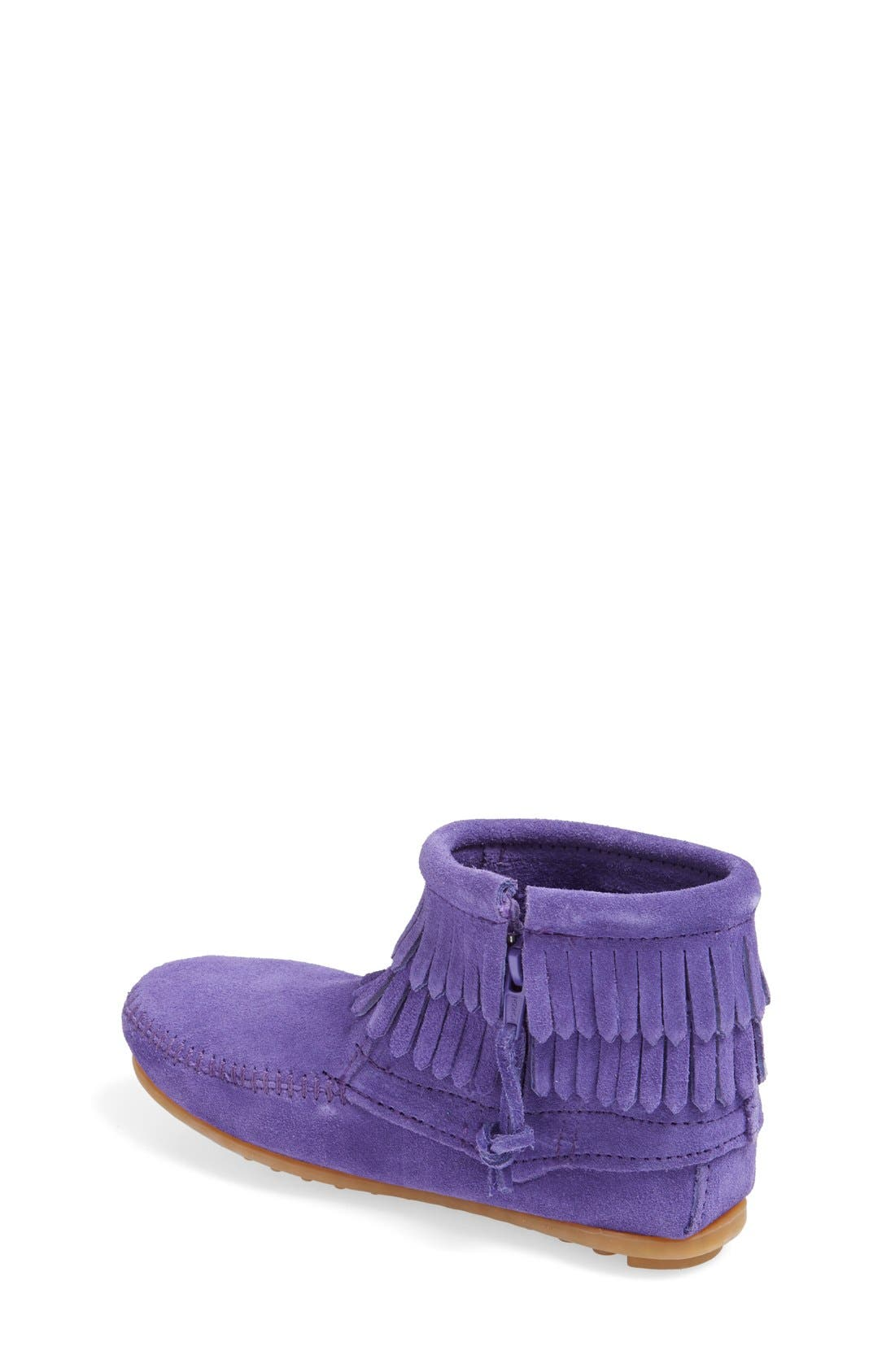 MINNETONKA, Double Fringe Moccasin, Alternate thumbnail 2, color, 524