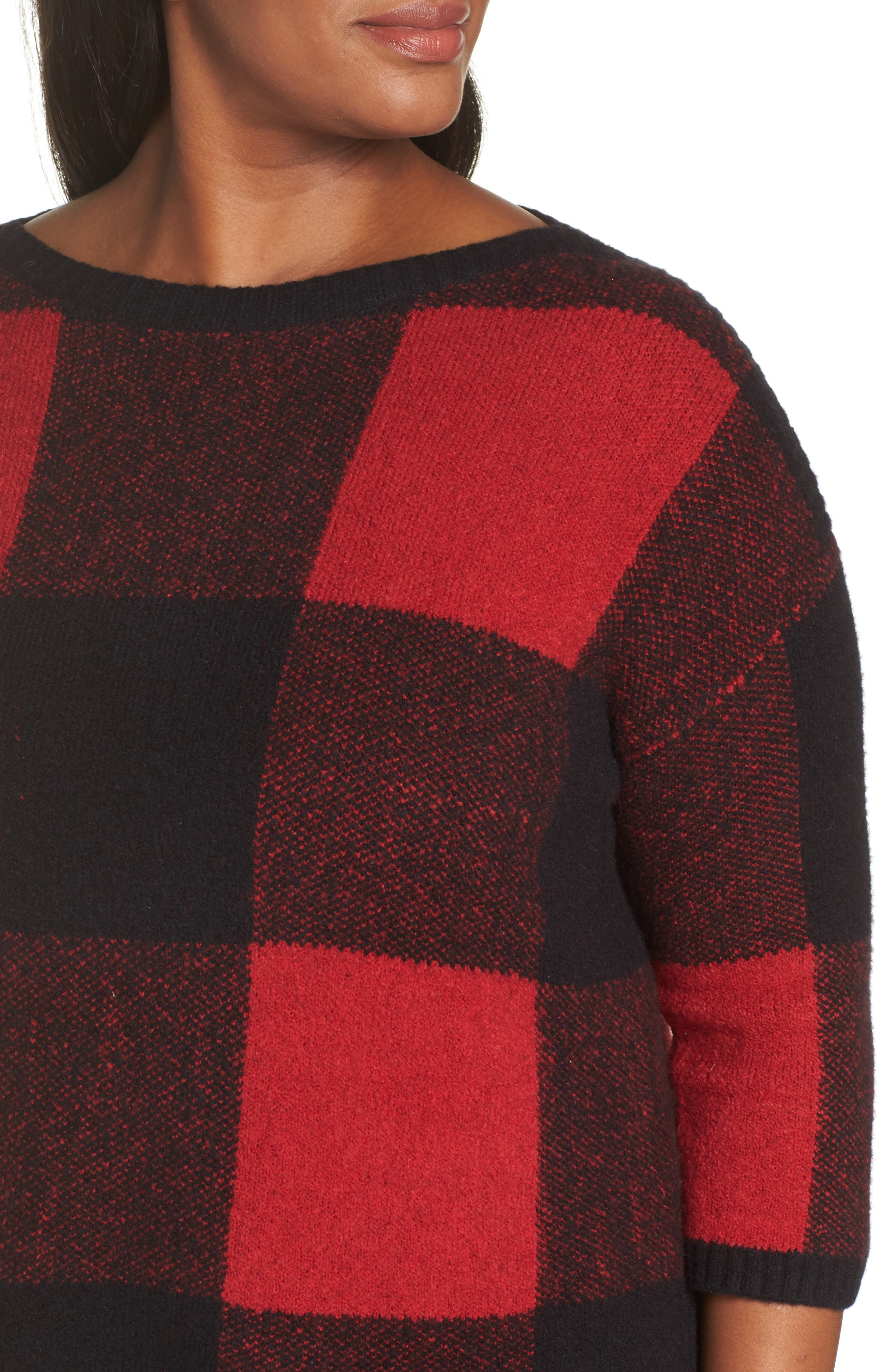 SEJOUR, Buffalo Plaid Sweater, Alternate thumbnail 4, color, BLACK-RED BUFFALO CHECK