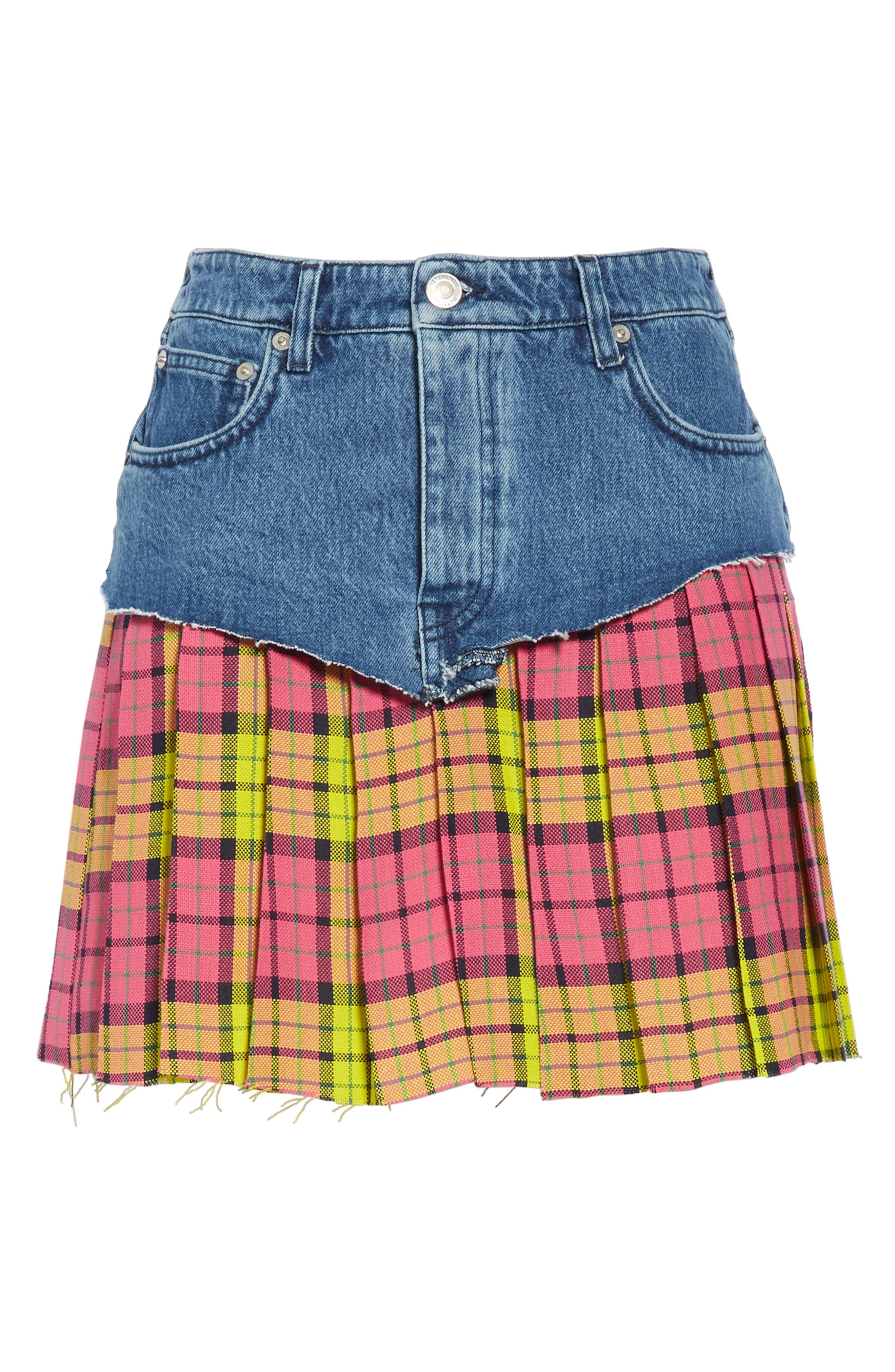 VETEMENTS, Schoolgirl Skirt, Alternate thumbnail 6, color, BLUE