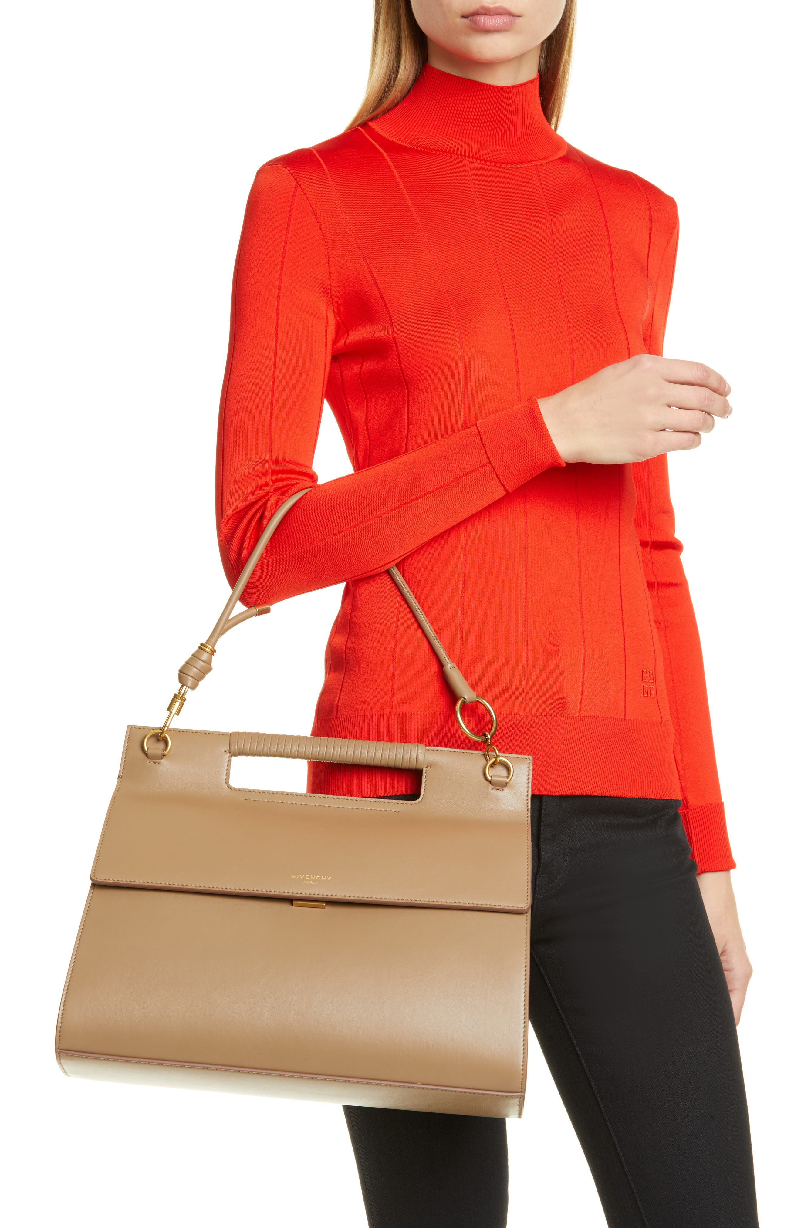 GIVENCHY, Whip Large Leather Satchel, Alternate thumbnail 4, color, TAUPE