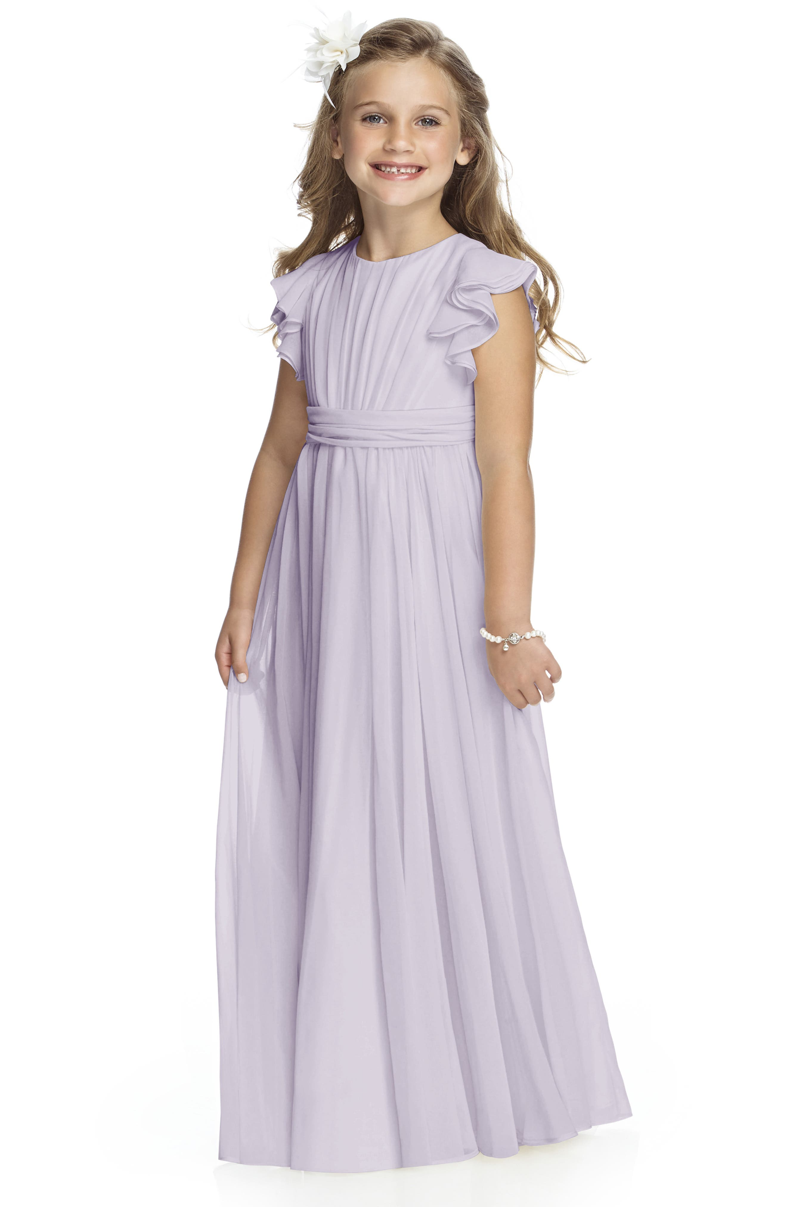 DESSY COLLECTION, Long Chiffon Flower Girl Dress, Main thumbnail 1, color, MOONDANCE