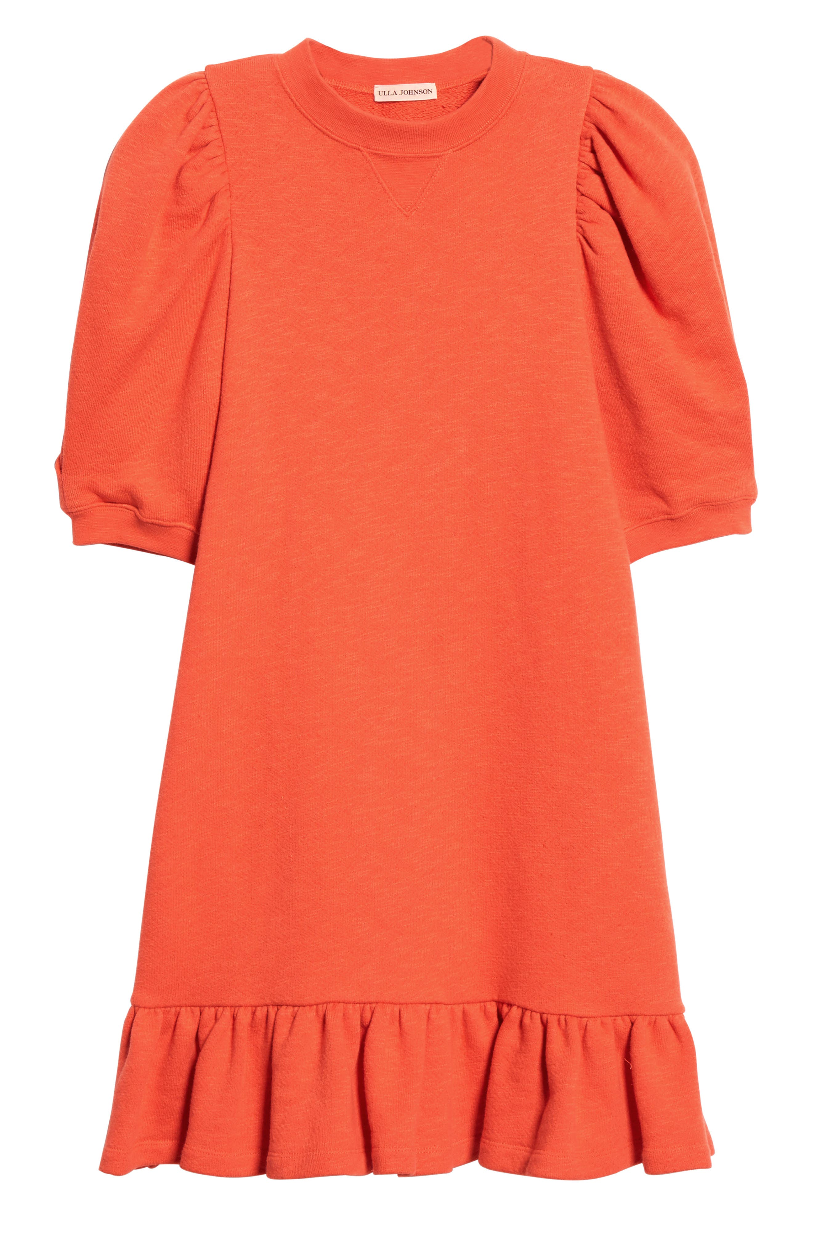 ULLA JOHNSON, Landry Puff Sleeve Sweatshirt Dress, Alternate thumbnail 7, color, CHILI