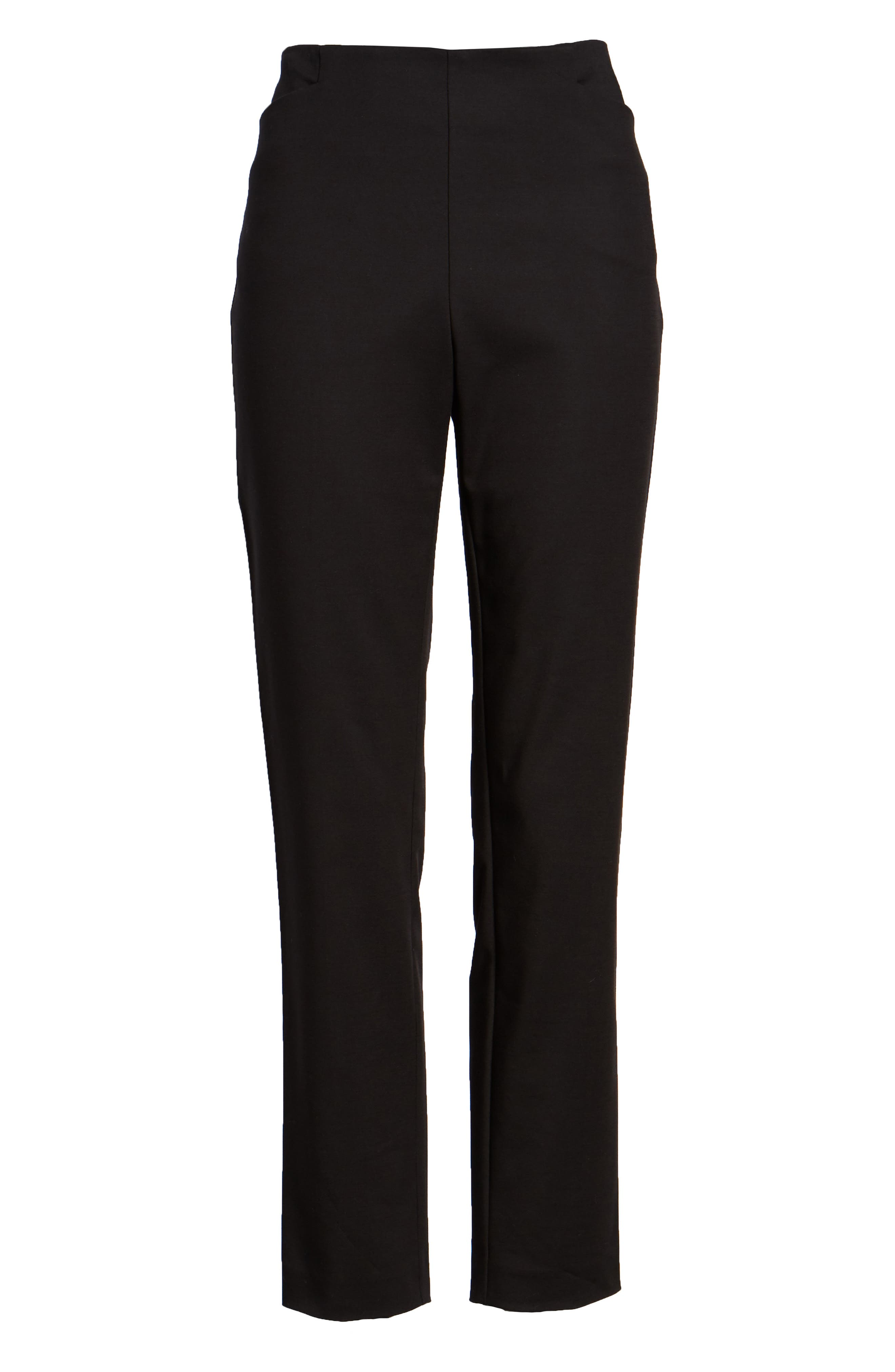 VINCE CAMUTO, Side Zip Stretch Cotton Blend Pants, Alternate thumbnail 7, color, RICH BLACK