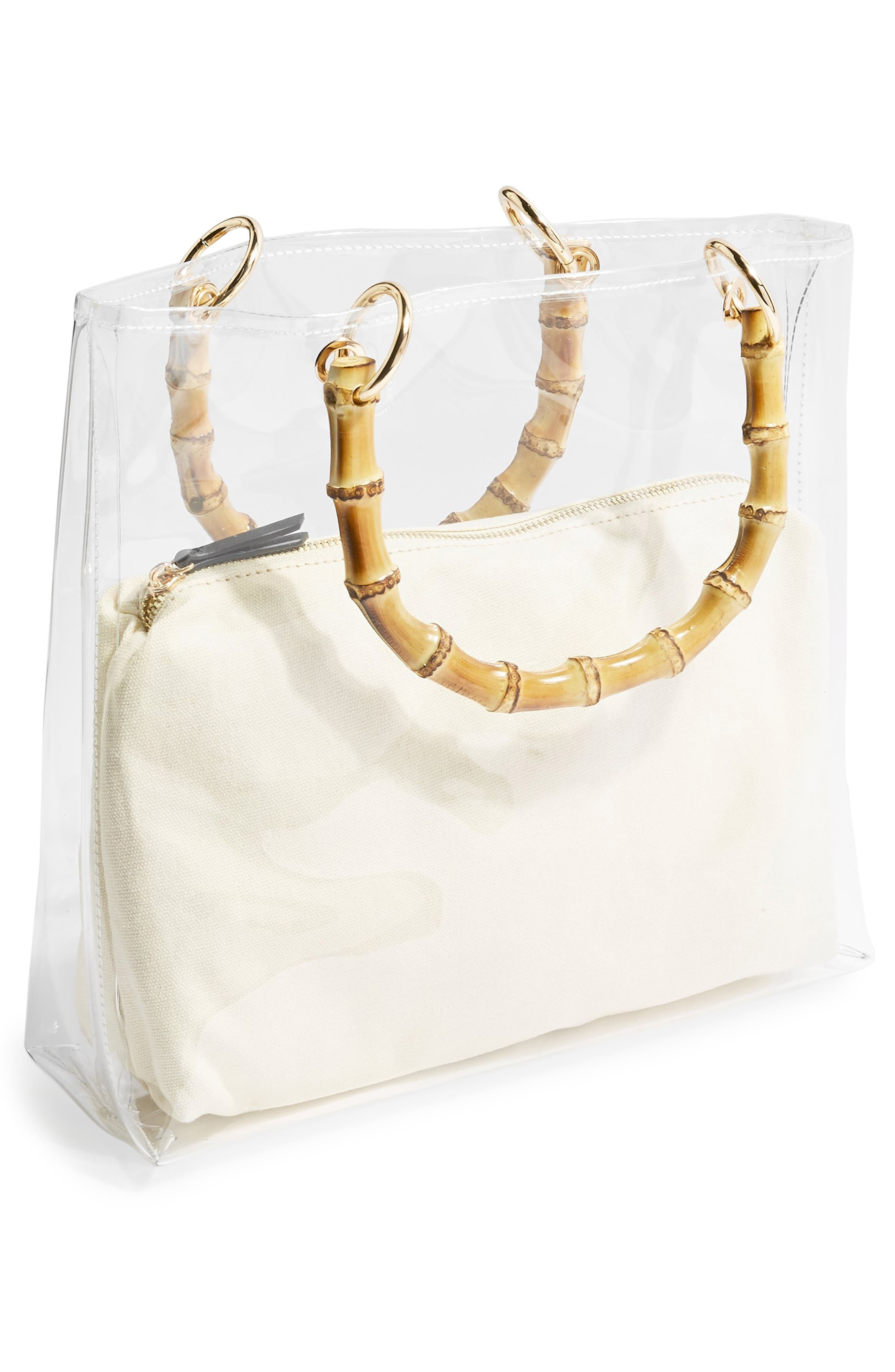 TOPSHOP, Mercy Top Handle Tote Bag, Alternate thumbnail 3, color, CLEAR