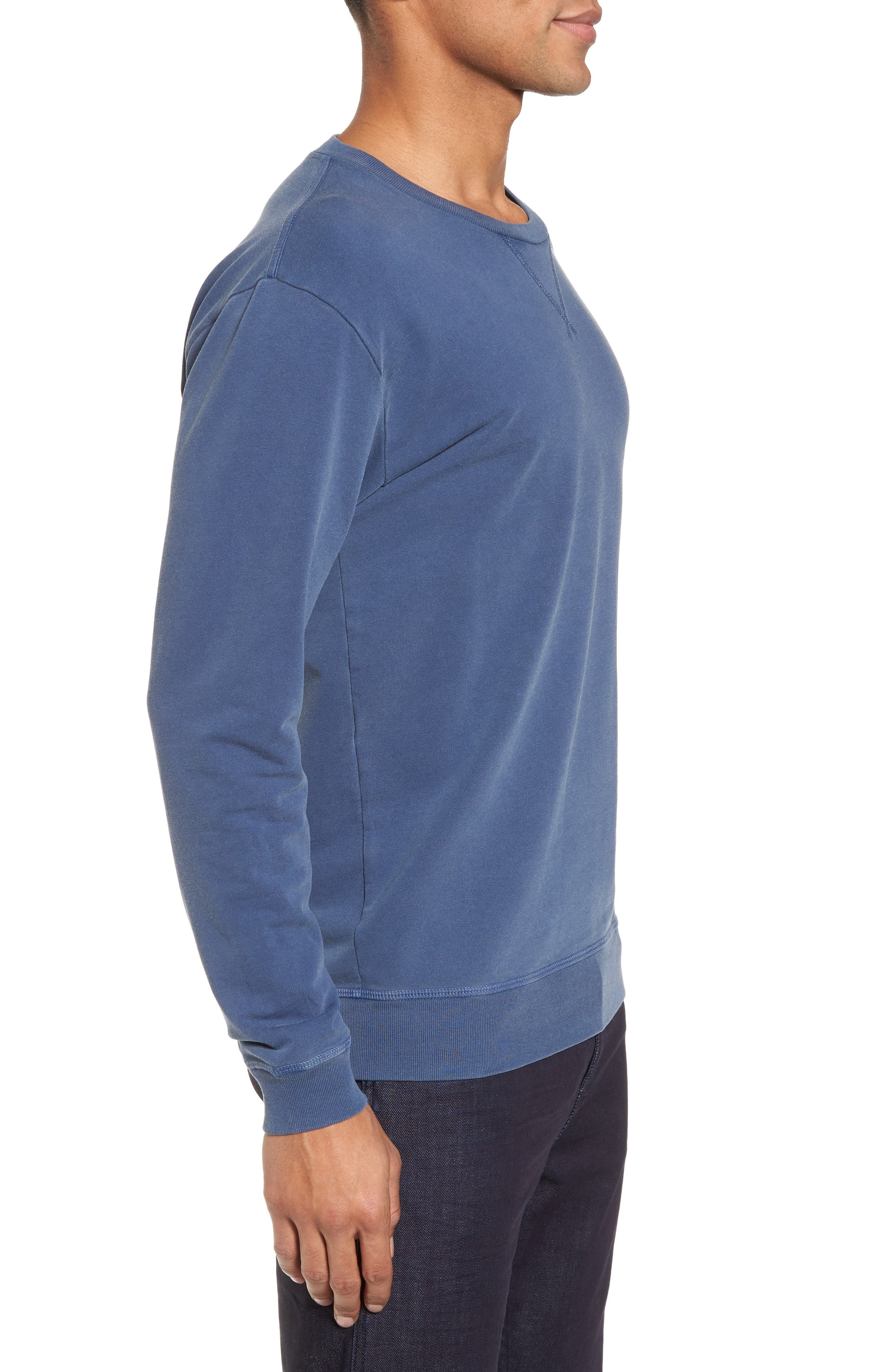 GOODLIFE, Slim Fit Crewneck Sweatshirt, Alternate thumbnail 3, color, FADED NAVY