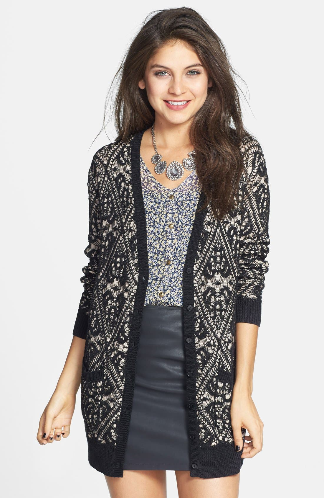 FRENCHI,  Lace Pattern Long Cardigan, Main thumbnail 1, color, 001