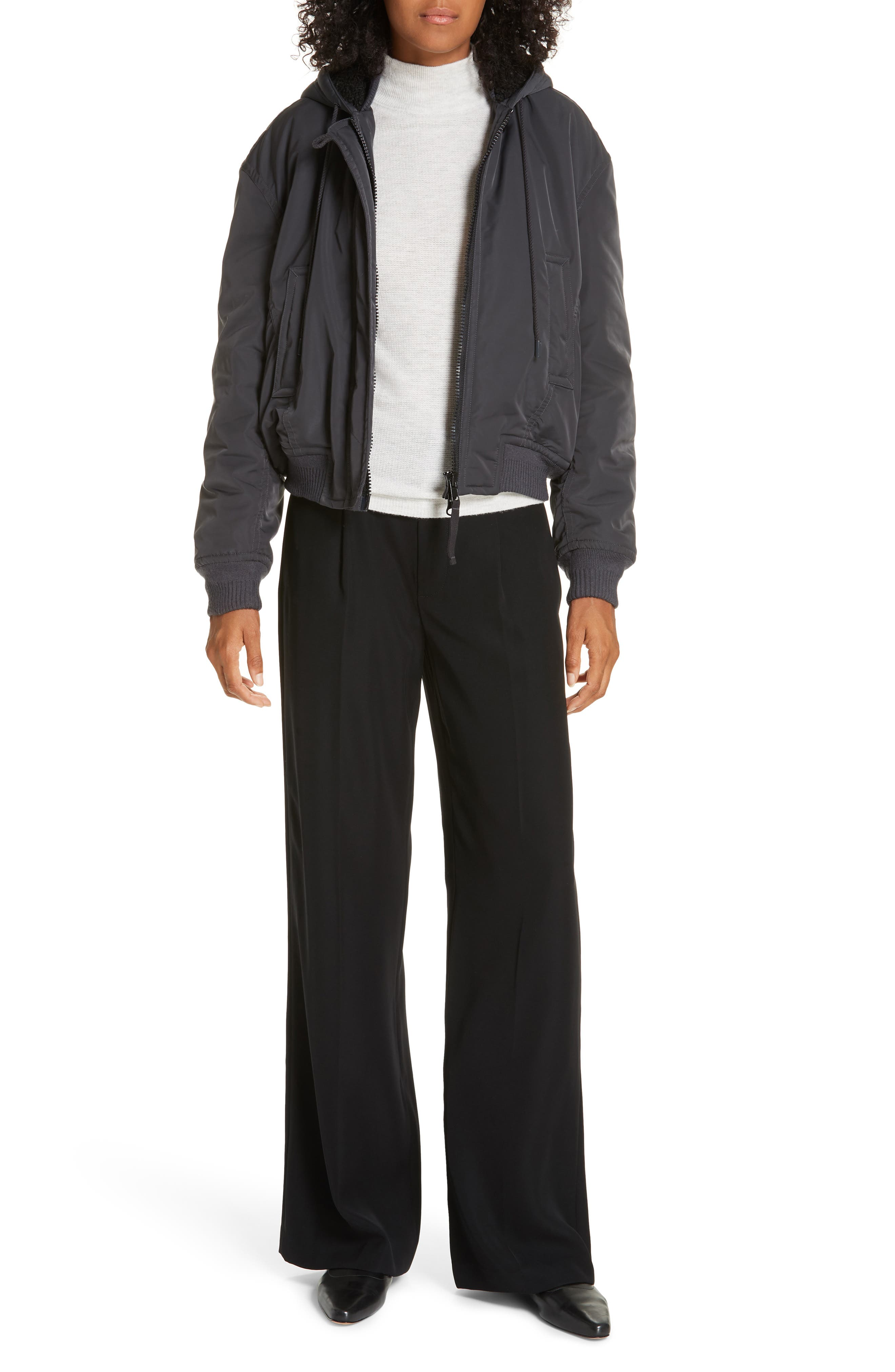VINCE, Relaxed Wide Leg Trousers, Alternate thumbnail 8, color, BLACK