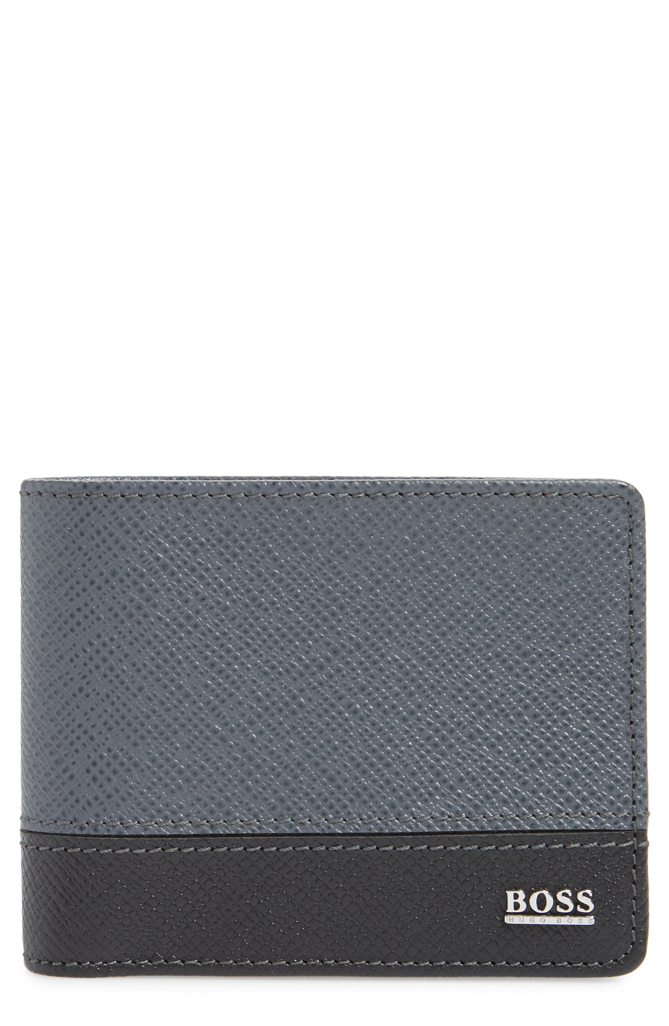 BOSS Embossed Leather Wallet, Main, color, DARK GREY