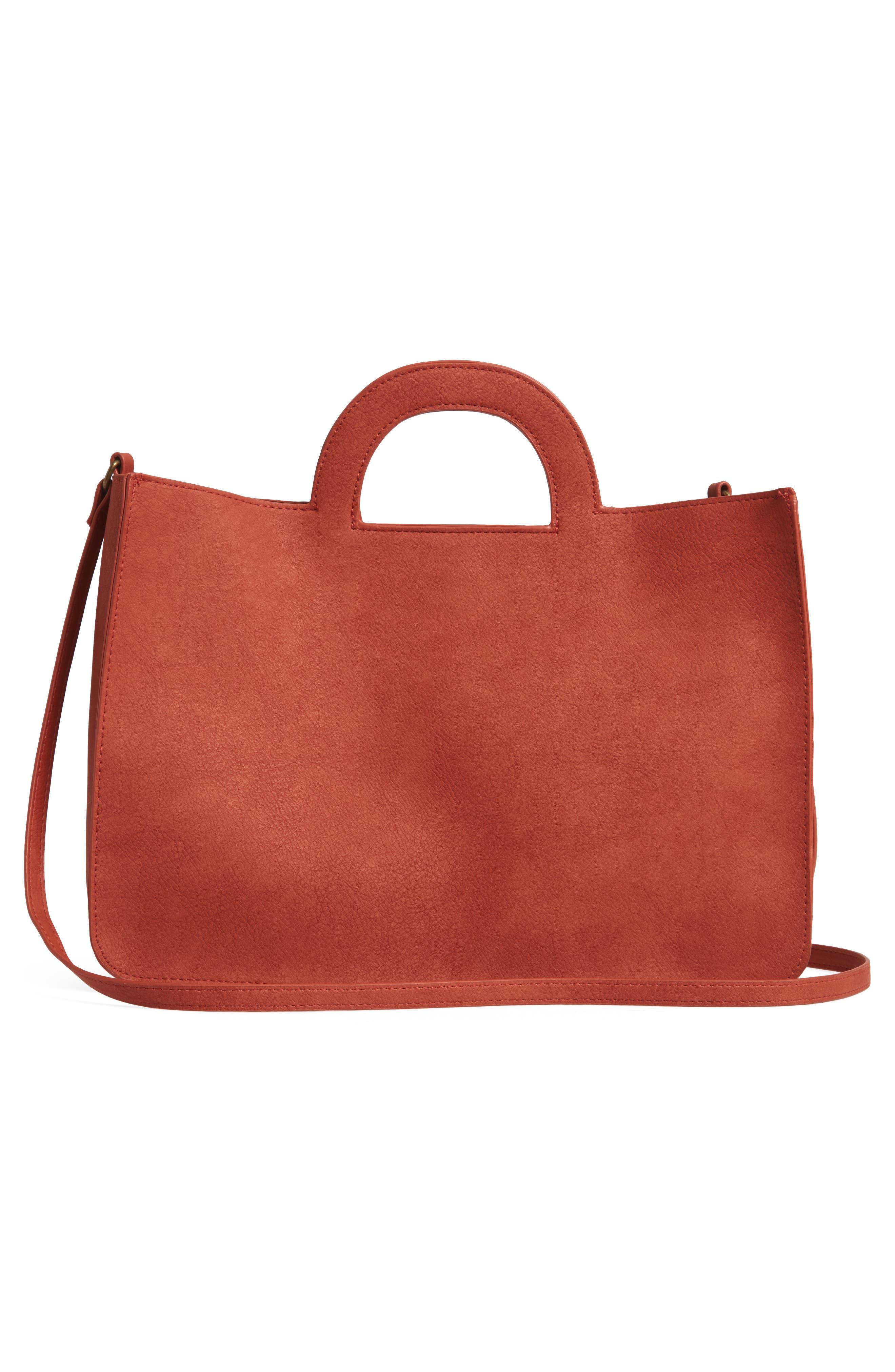 T-SHIRT & JEANS, Faux Leather Top Handle Tote Bag, Alternate thumbnail 4, color, 805