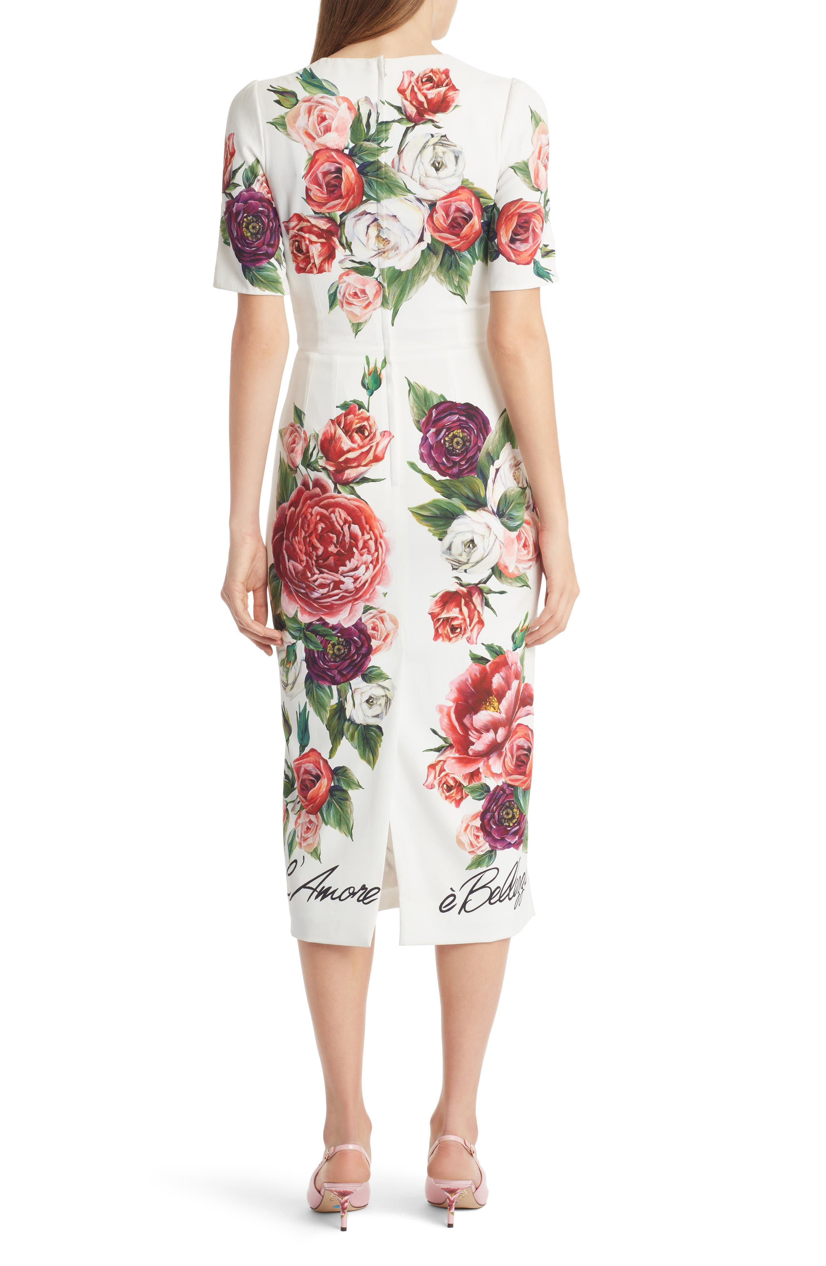 DOLCE&GABBANA, Jewel Button Peony Print Cady Dress, Alternate thumbnail 2, color, 115