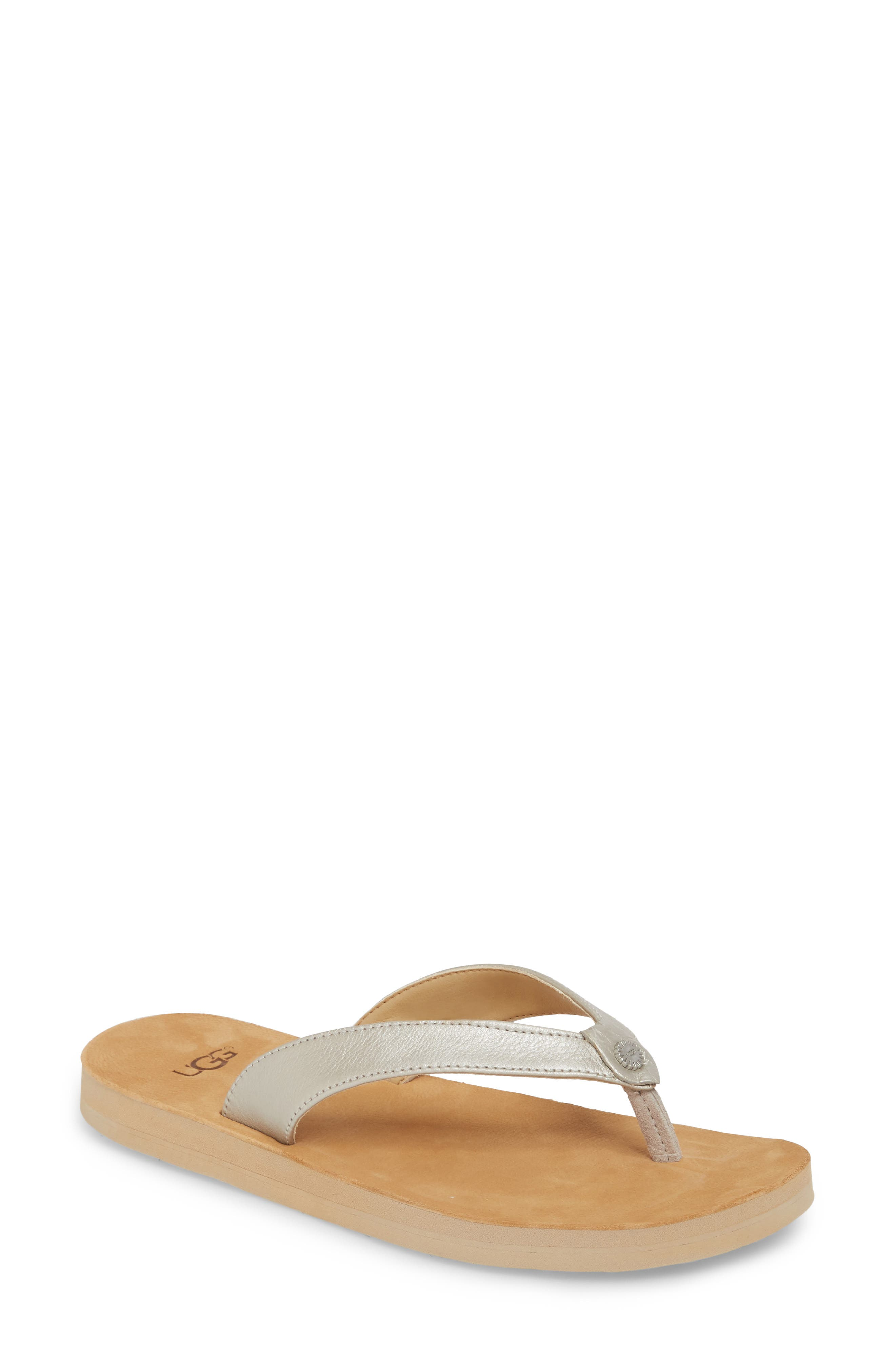 UGG<SUP>®</SUP>, Tawney Flip Flop, Main thumbnail 1, color, SILVER LEATHER