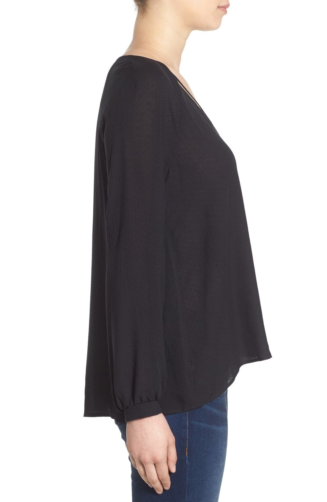 ---, Strappy Long Sleeve Woven Blouse, Alternate thumbnail 2, color, 001