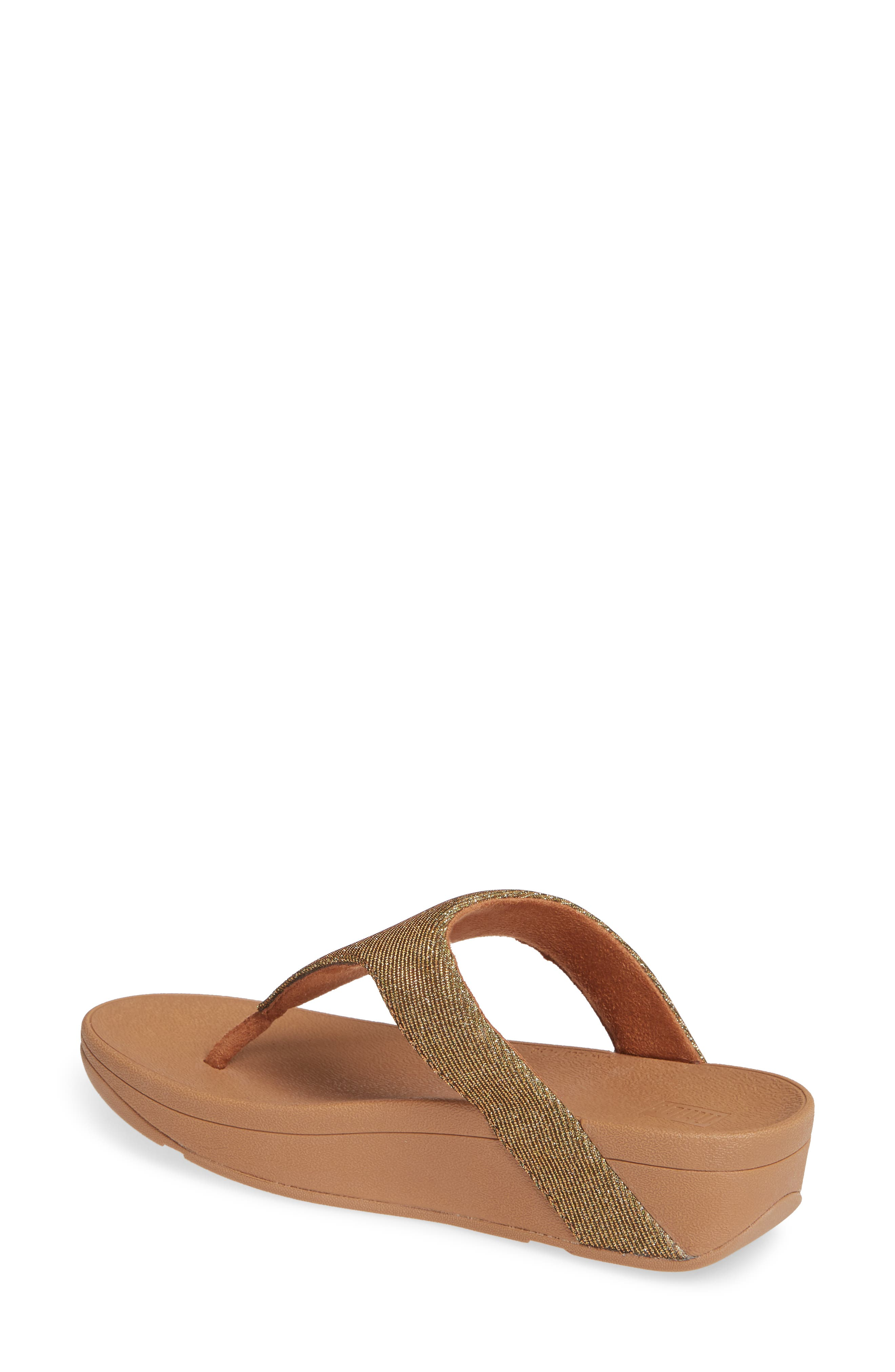 FITFLOP, Lottie Glitzy Wedge Flip Flop, Alternate thumbnail 2, color, ARTISAN GOLD