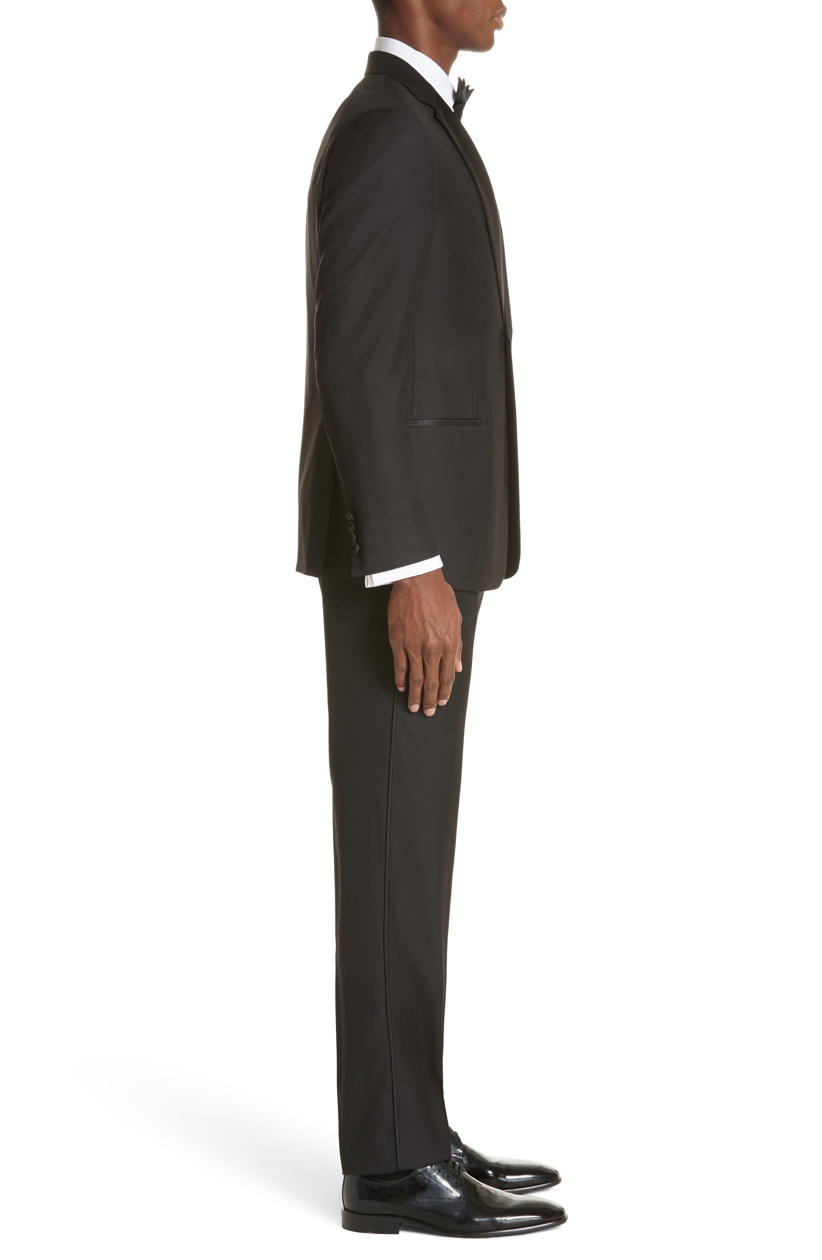 EMPORIO ARMANI, Trim Fit Wool Tuxedo, Alternate thumbnail 3, color, BLACK