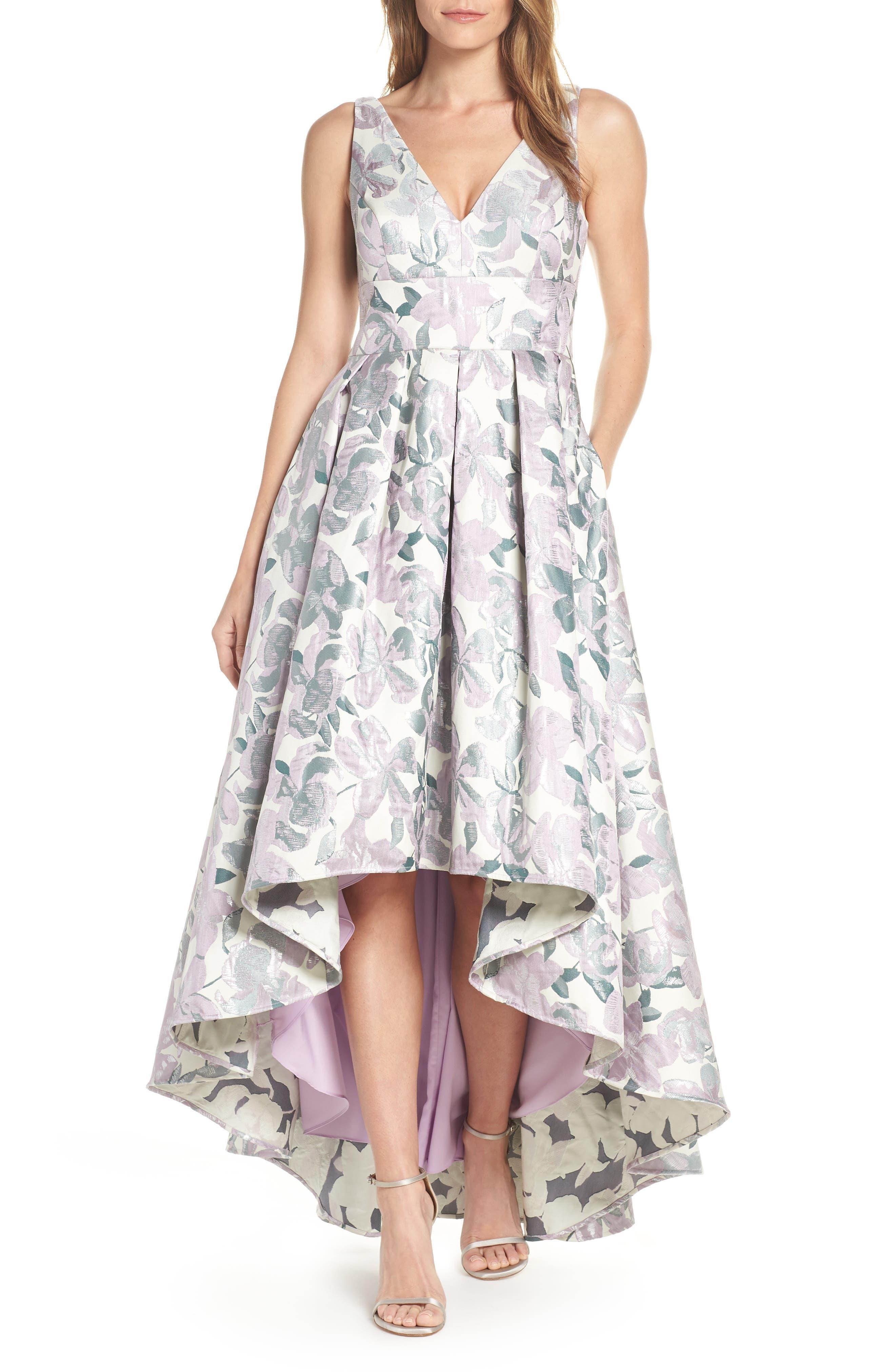 ELIZA J, Floral Jacquard High/Low Evening Dress, Main thumbnail 1, color, LILAC COMBINATION