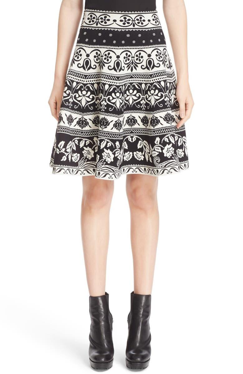 35a290c9a ALEXANDER MCQUEEN Floral Jacquard Knit Skirt, Main, color, 003