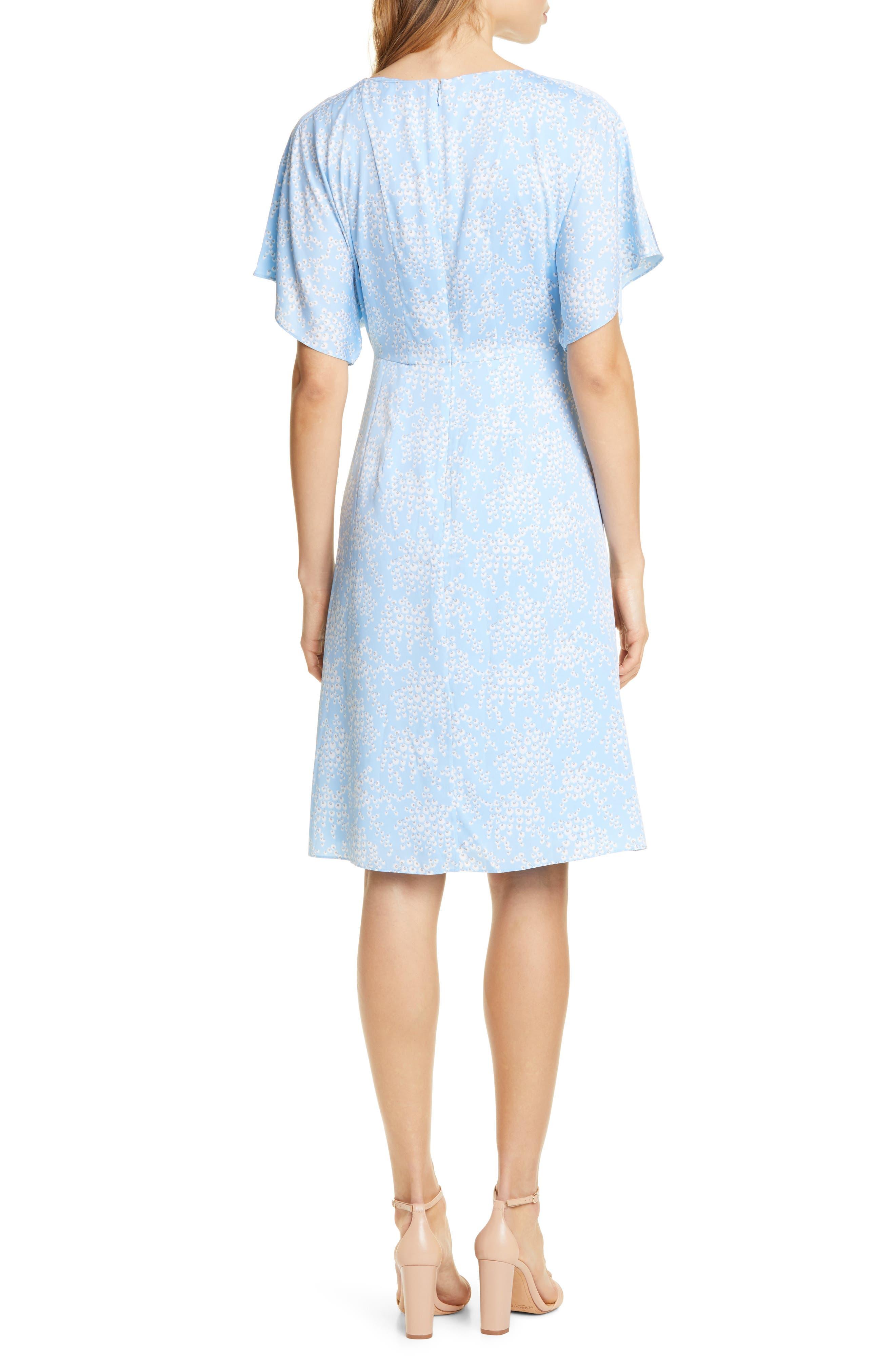 LEWIT, Kimono Sleeve Stretch Silk Dress, Alternate thumbnail 2, color, BLUE SIDDAL FLORAL