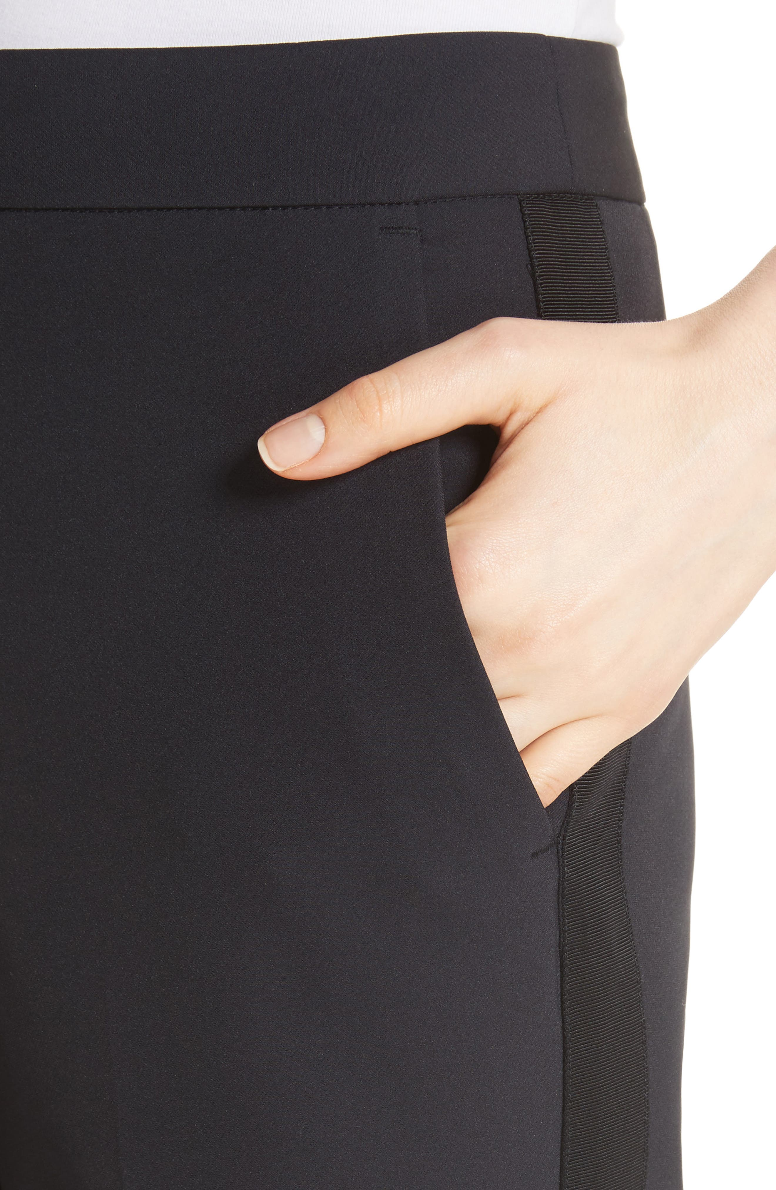REBECCA TAYLOR, Audra Crop Pants, Alternate thumbnail 5, color, BLACK