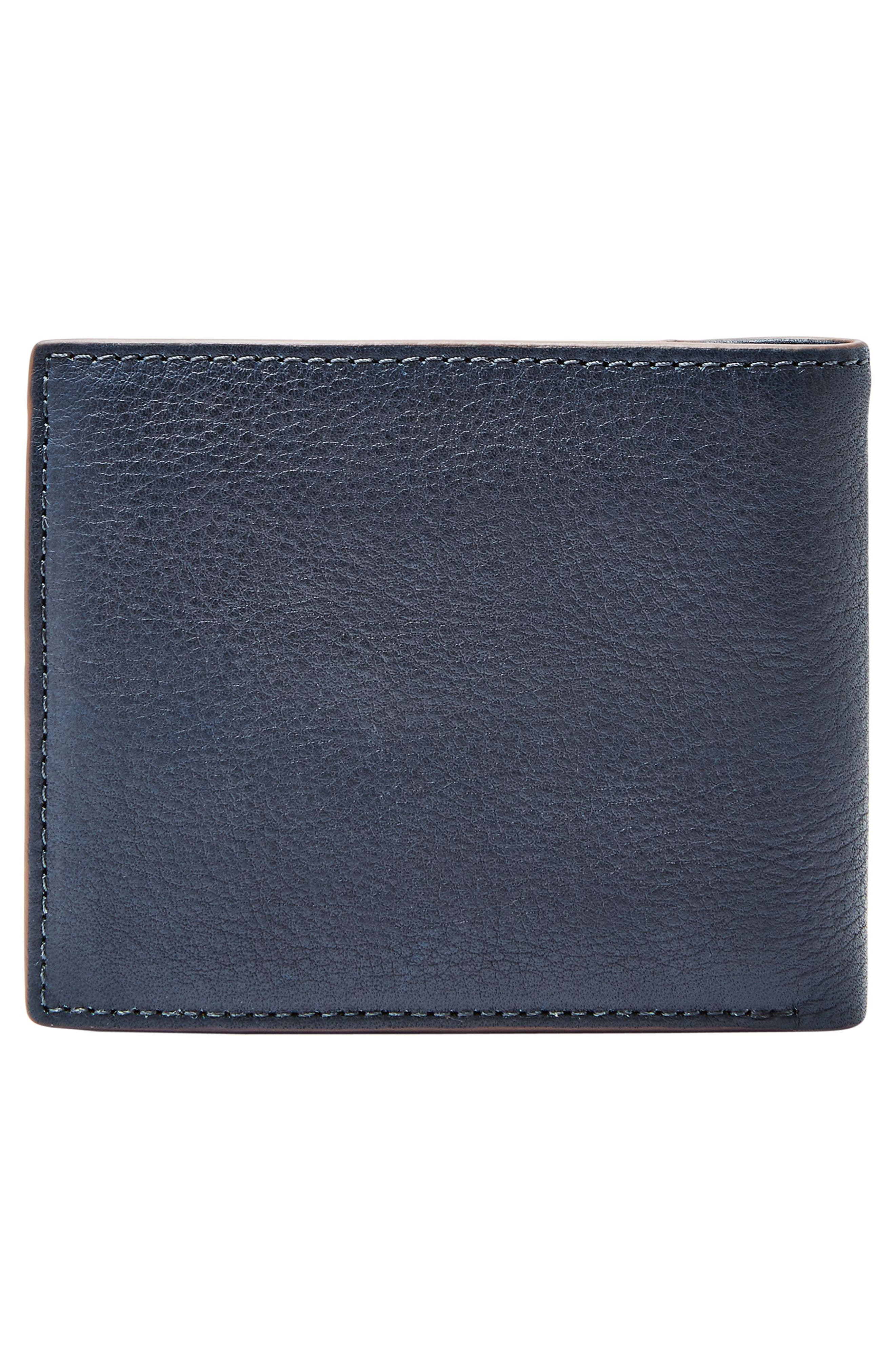 FOSSIL, Ward Leather Wallet, Alternate thumbnail 4, color, NAVY