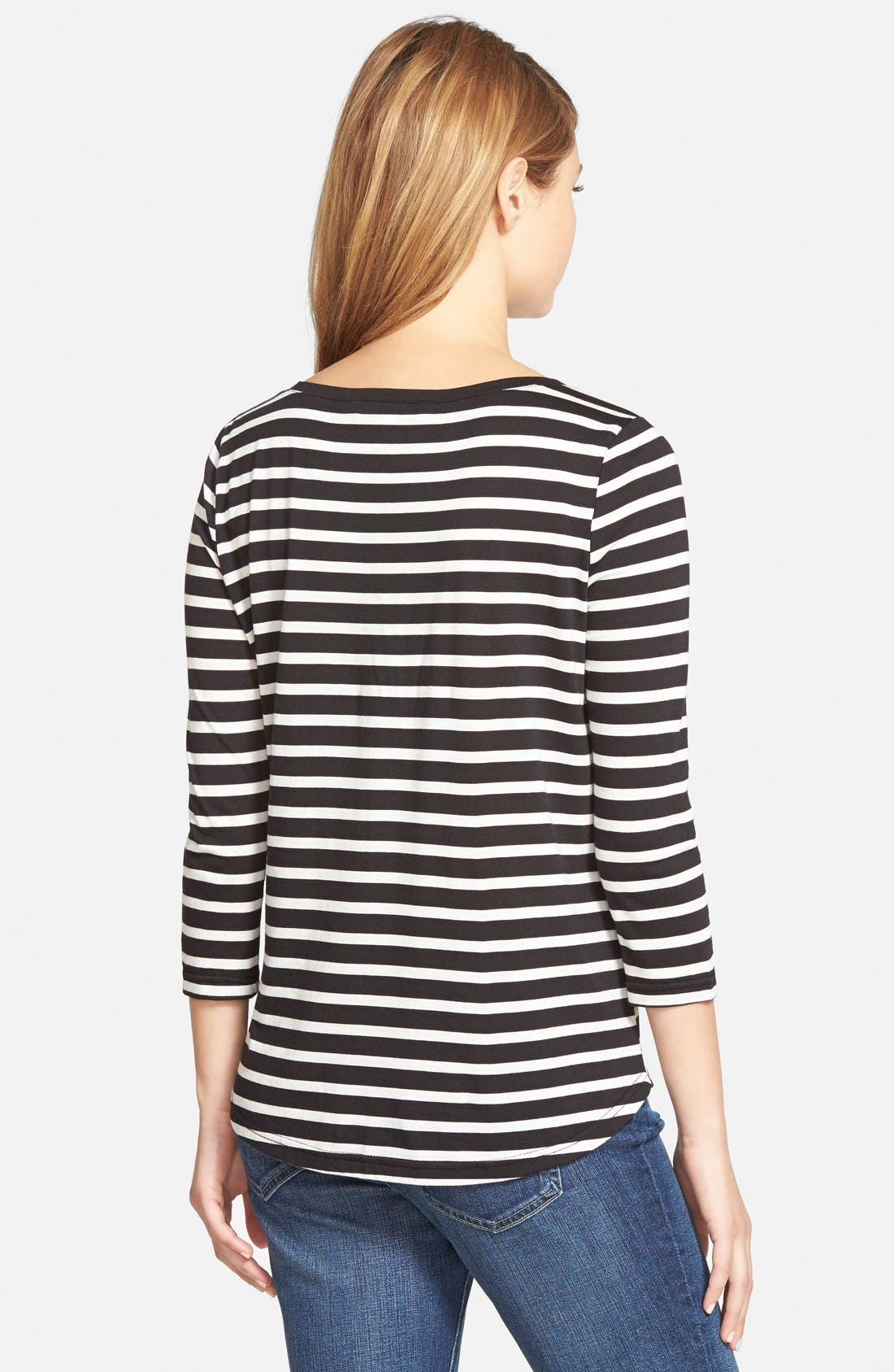 CUPCAKES AND CASHMERE, 'Mendocino' Stripe Top, Alternate thumbnail 3, color, 001