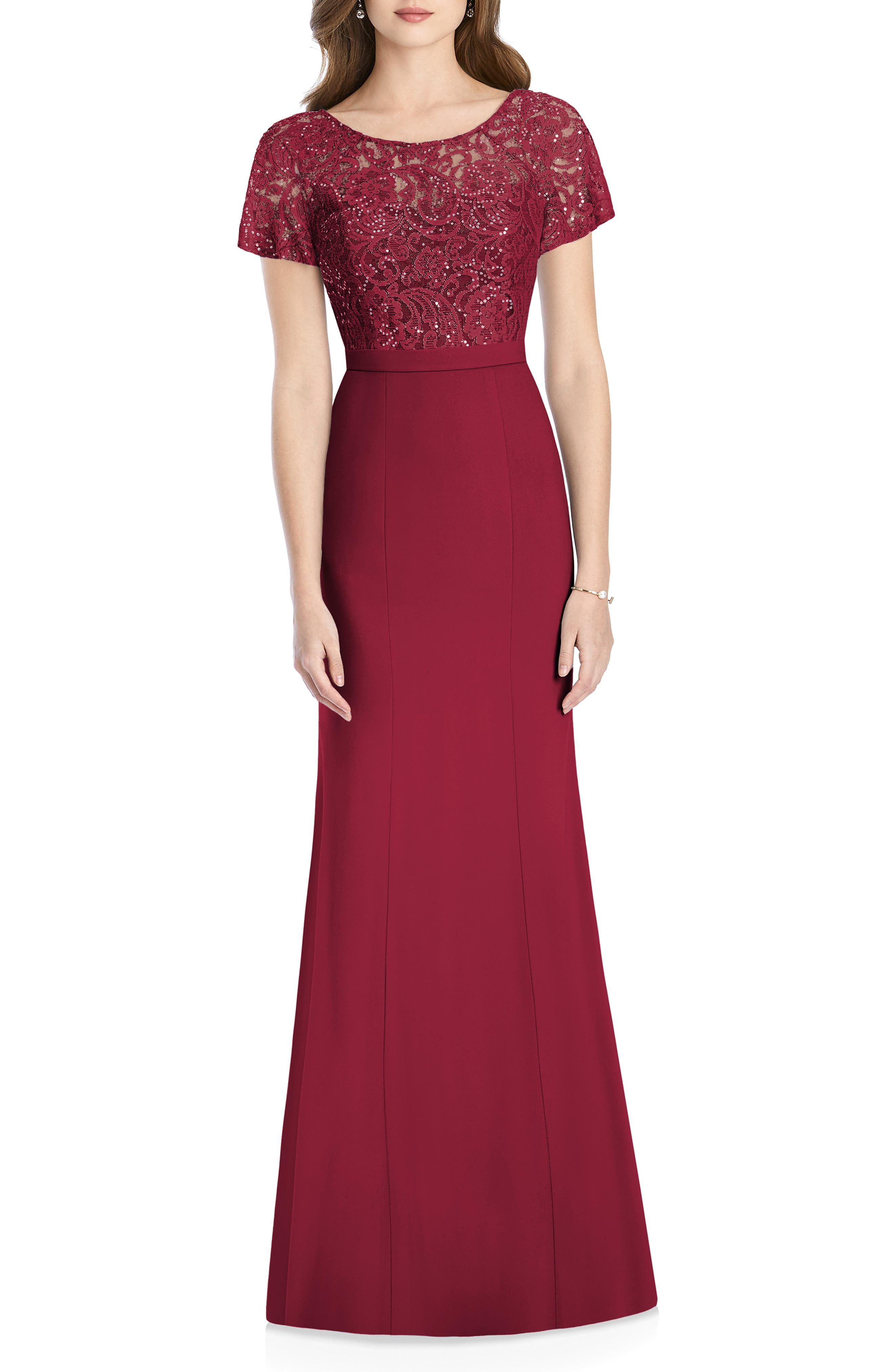 JENNY PACKHAM, Embellished Lace Gown, Main thumbnail 1, color, BURGUNDY