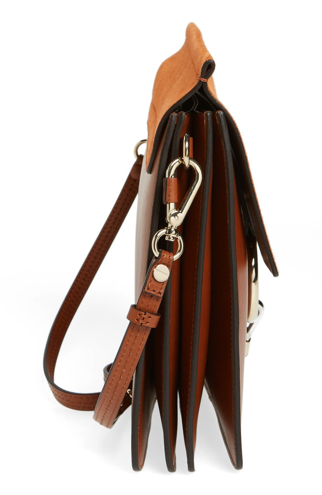 CHLOÉ, 'Faye' Leather & Suede Shoulder Bag, Alternate thumbnail 5, color, CLASSIC TOBACCO
