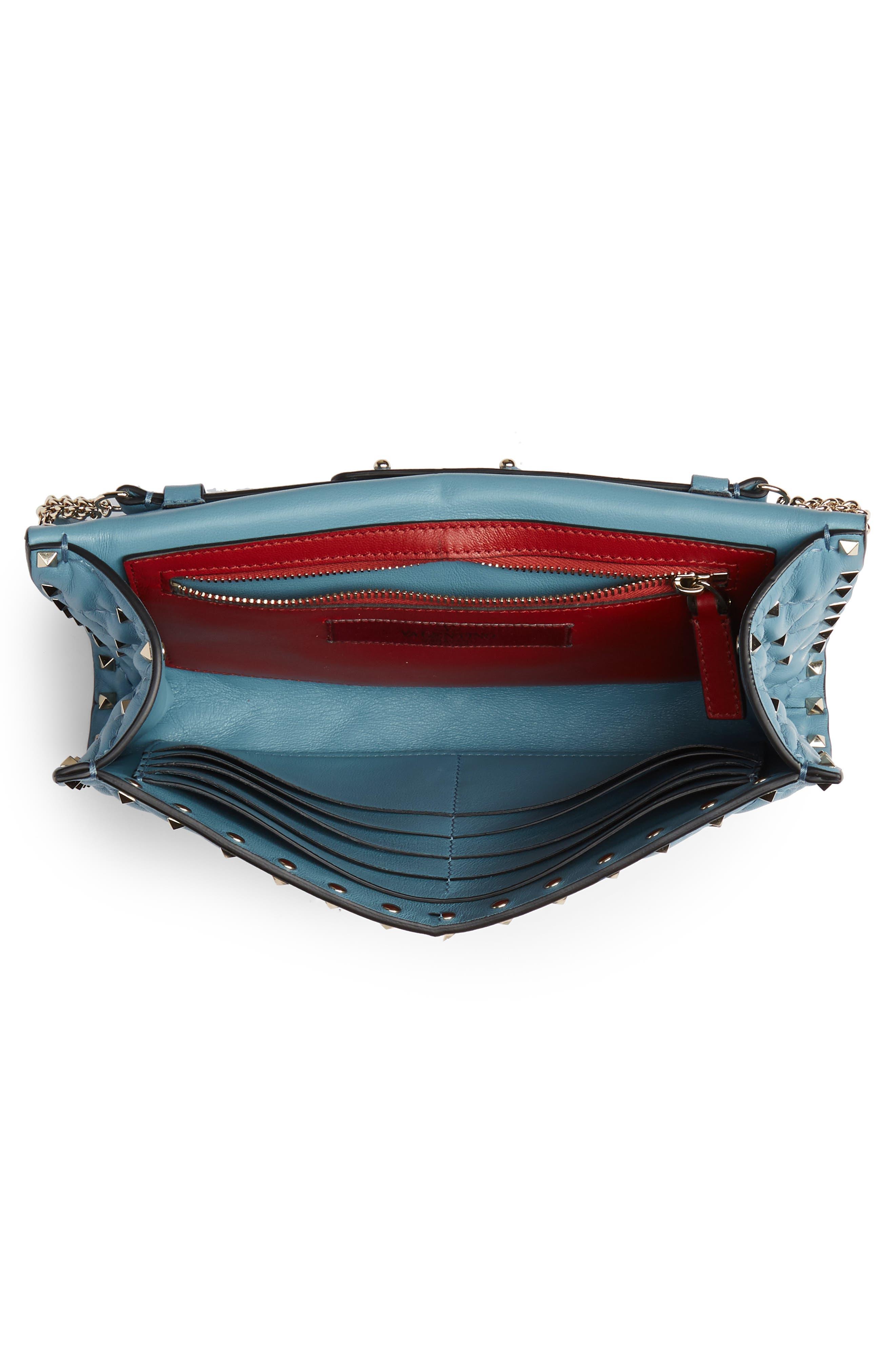VALENTINO GARAVANI, Rockstud Matelassé Quilted Leather Crossbody Bag, Alternate thumbnail 4, color, ATLANTIQUE