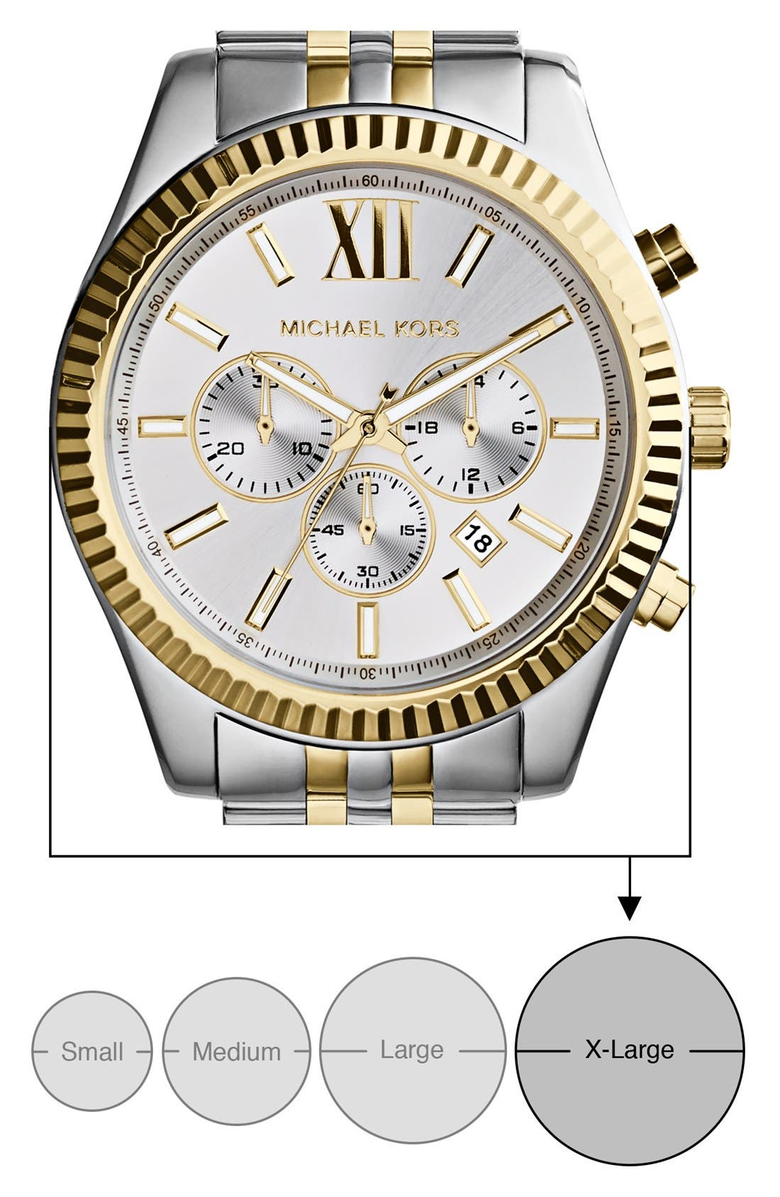 MICHAEL KORS, Large Lexington Chronograph Bracelet Watch, 45mm, Alternate thumbnail 4, color, SILVER/ GOLD