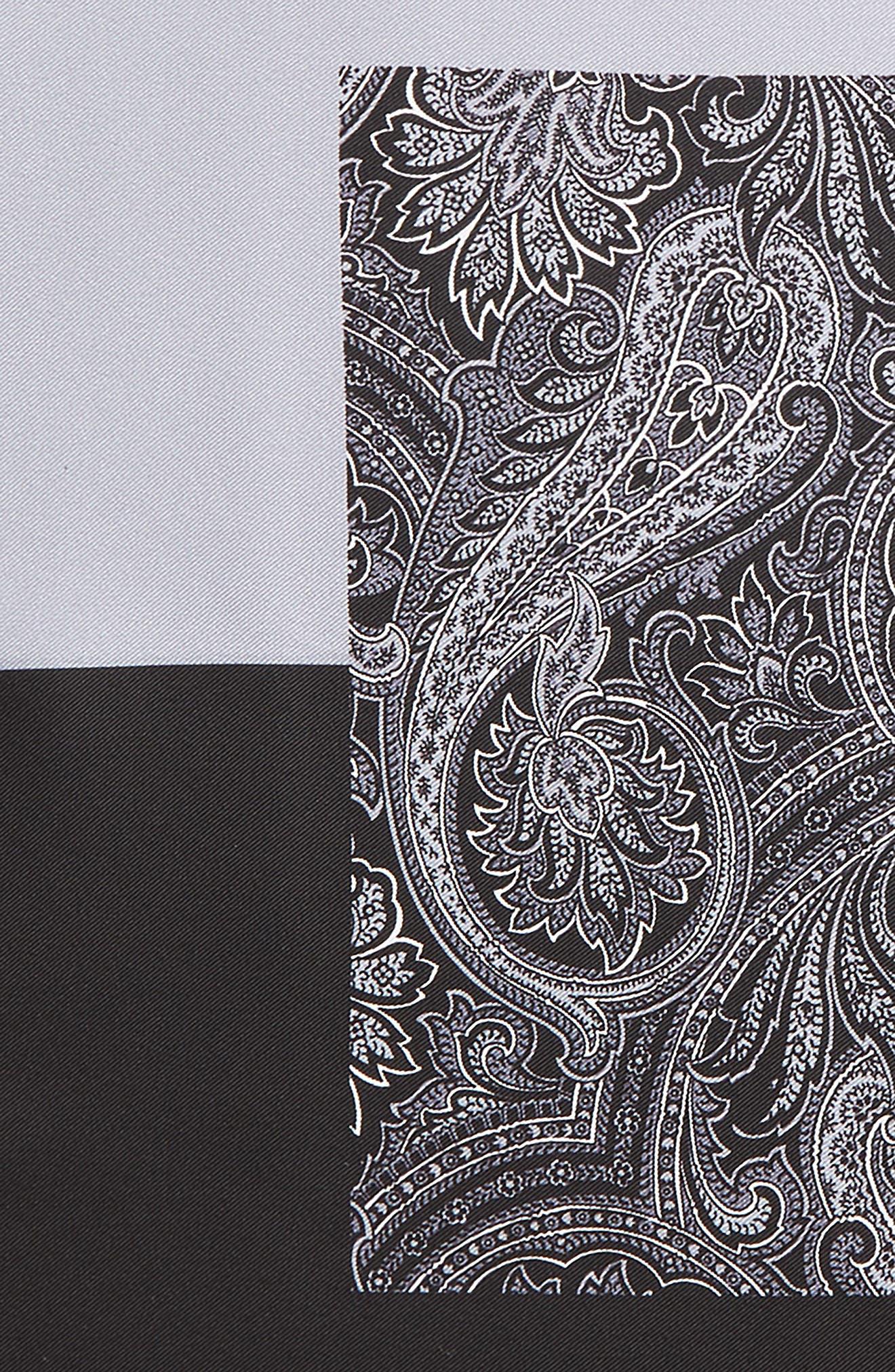 NORDSTROM MEN'S SHOP, Five Panel Silk Pocket Square, Alternate thumbnail 3, color, BLACK