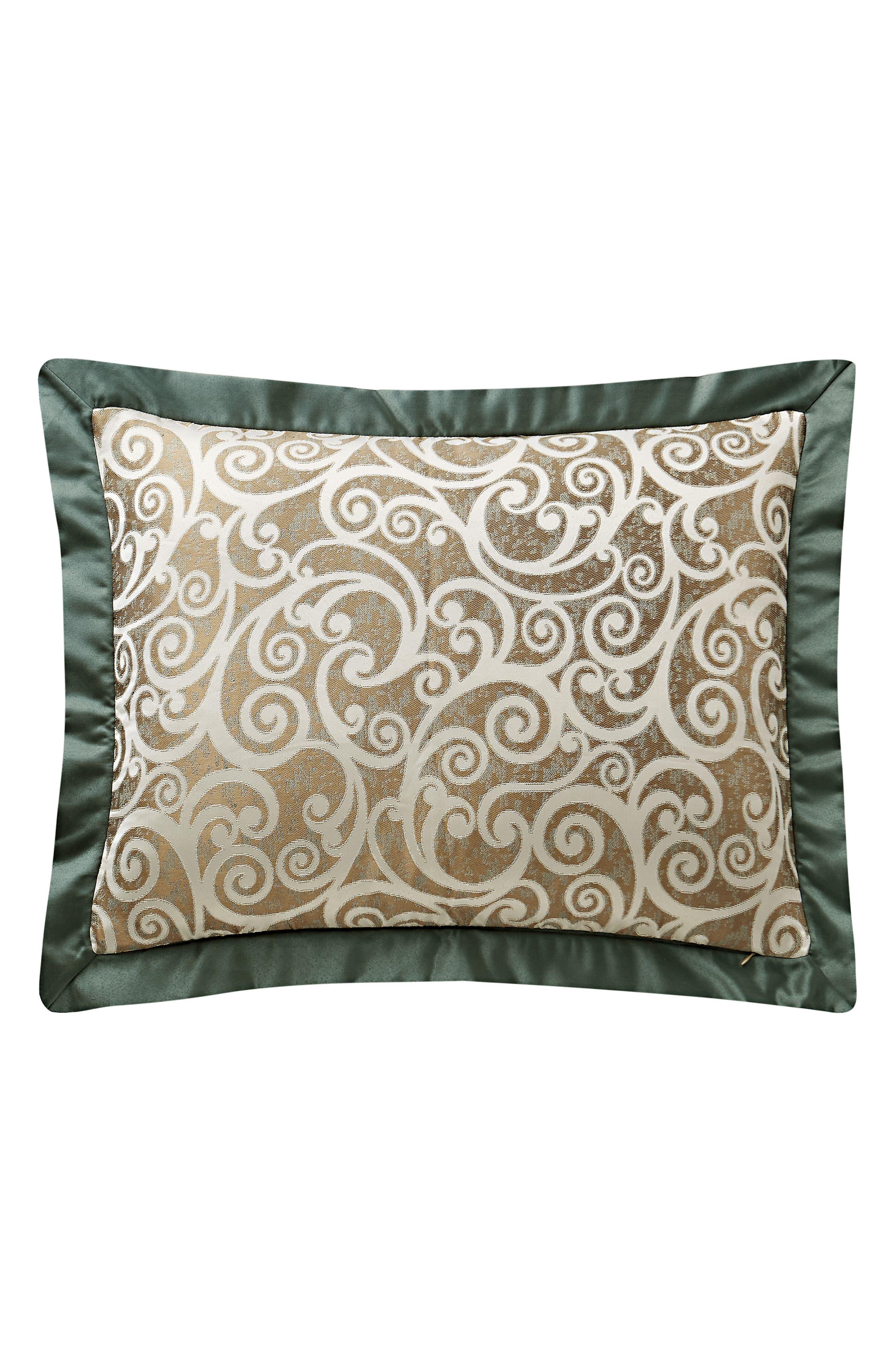 WATERFORD, Anora Comforter, Sham & Bed Skirt Set, Alternate thumbnail 5, color, BRASS/ JADE