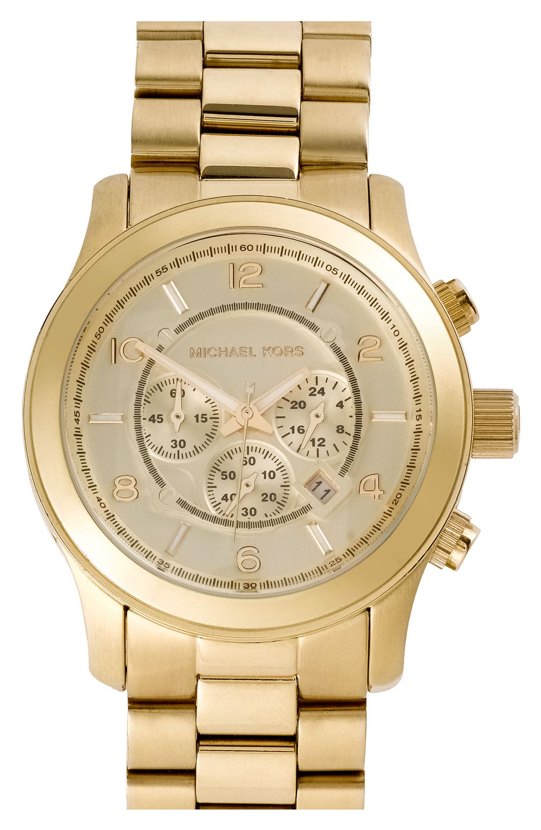 MICHAEL KORS, 'Large Runway' Chronograph Bracelet Watch, 45mm, Main thumbnail 1, color, GOLD