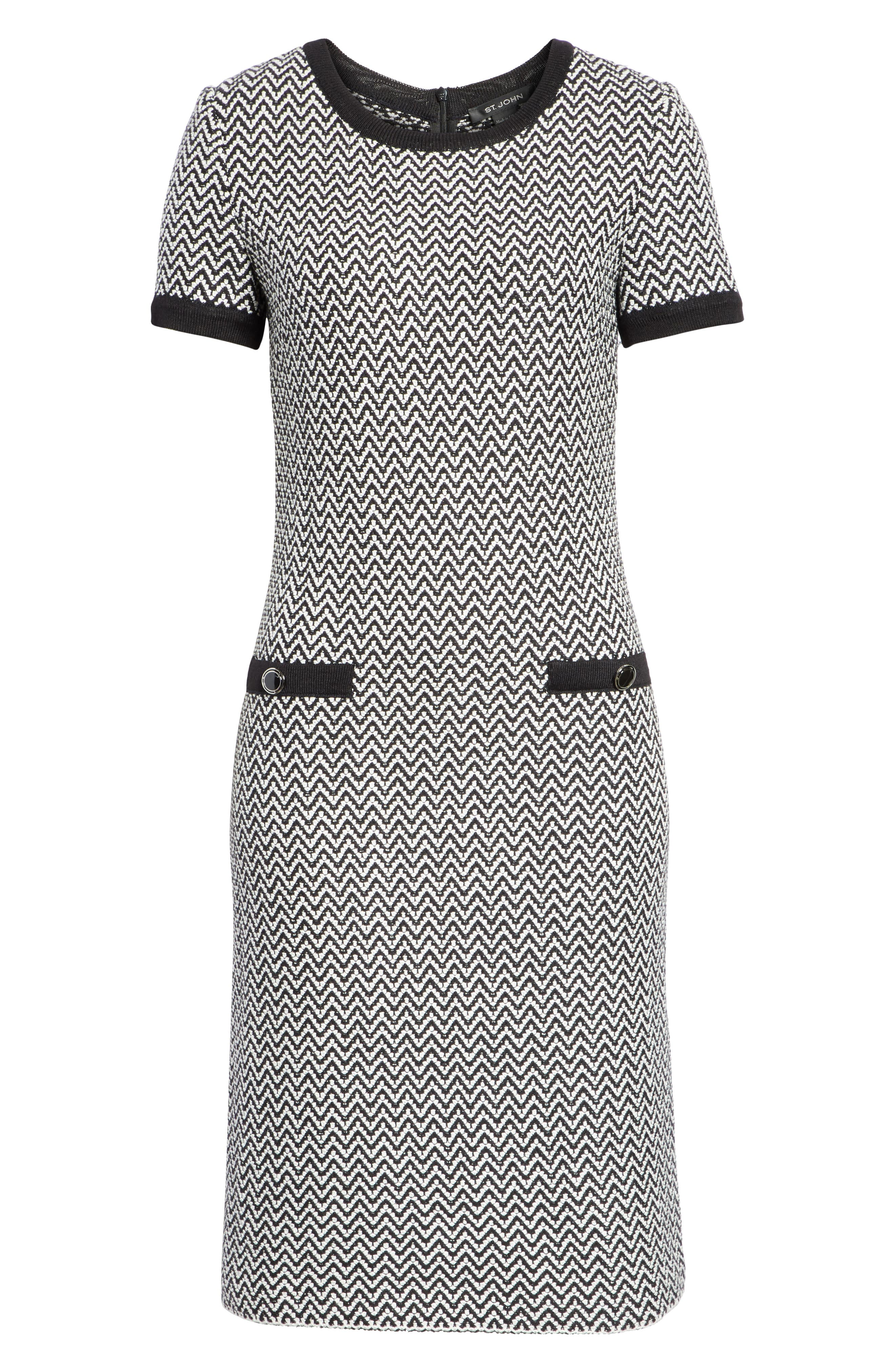 ST. JOHN COLLECTION, Mod Herringbone Knit Dress, Alternate thumbnail 6, color, CAVIAR/ CREAM