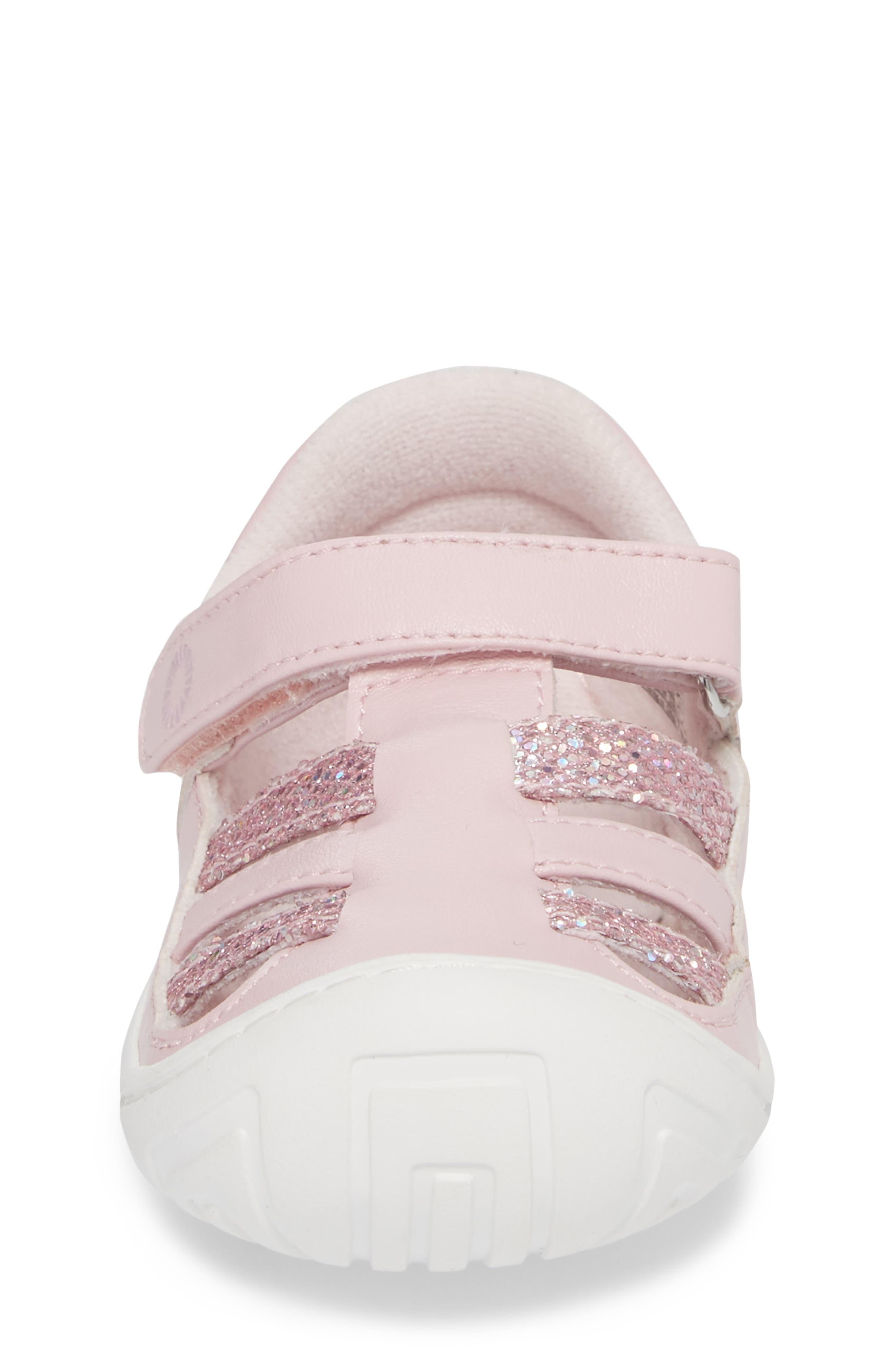 UGG<SUP>®</SUP>, Santore Glitter Sandal, Alternate thumbnail 4, color, SEASHELL PINK
