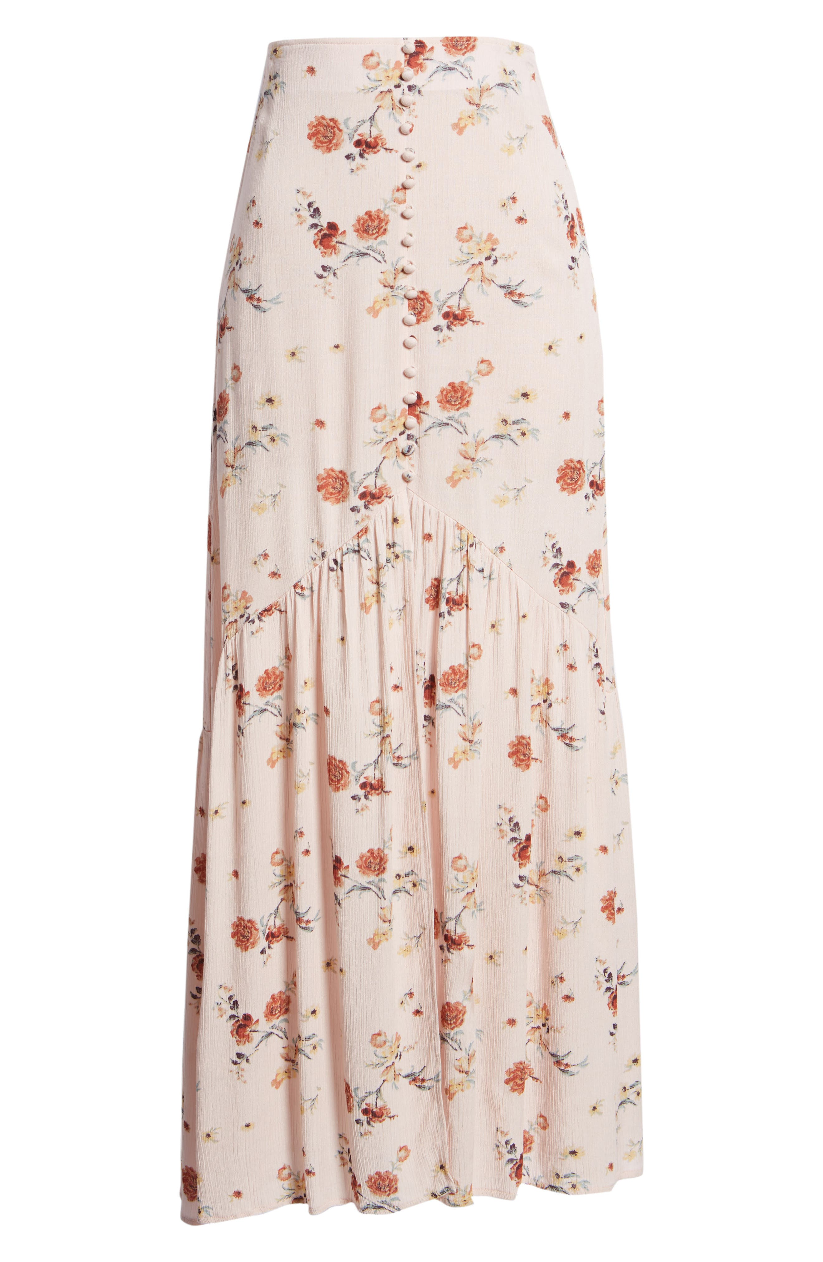 LOST + WANDER, Rosa Floral Maxi Skirt, Alternate thumbnail 6, color, 650