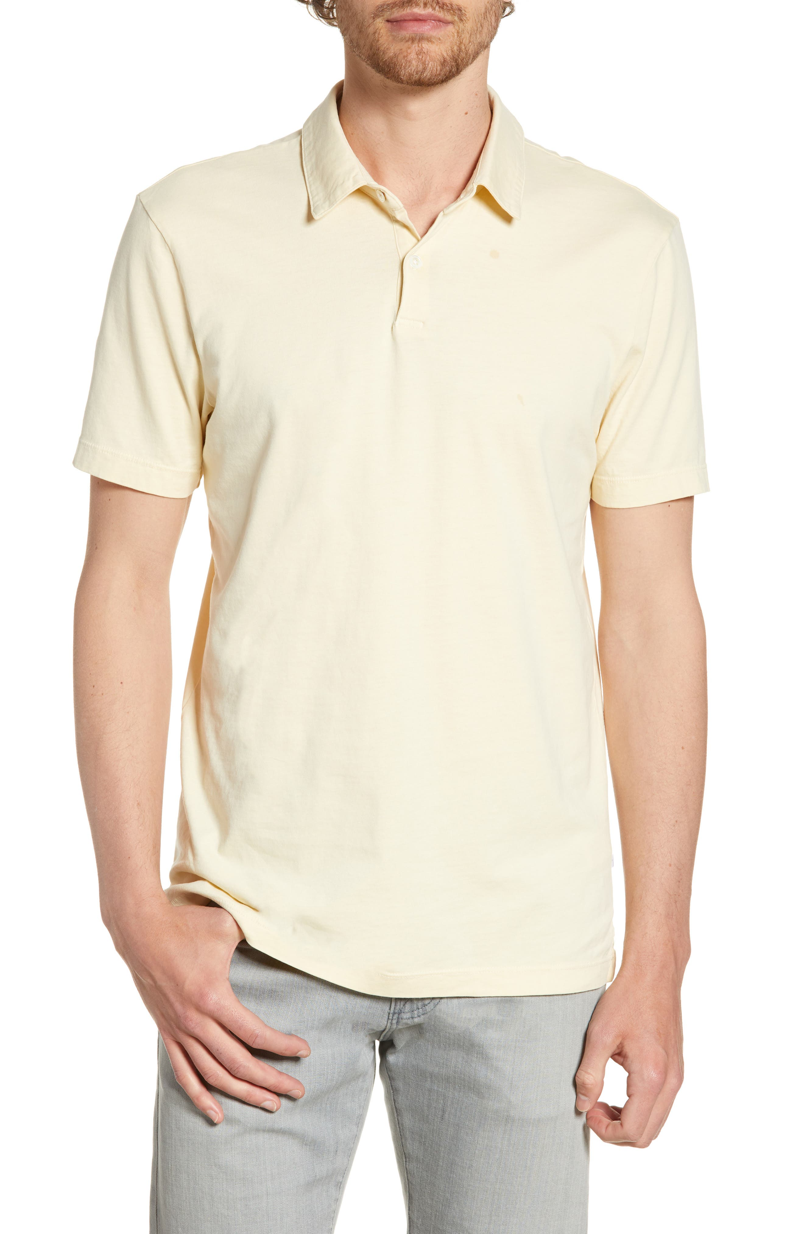 JAMES PERSE, Slim Fit Sueded Jersey Polo, Main thumbnail 1, color, GESSO