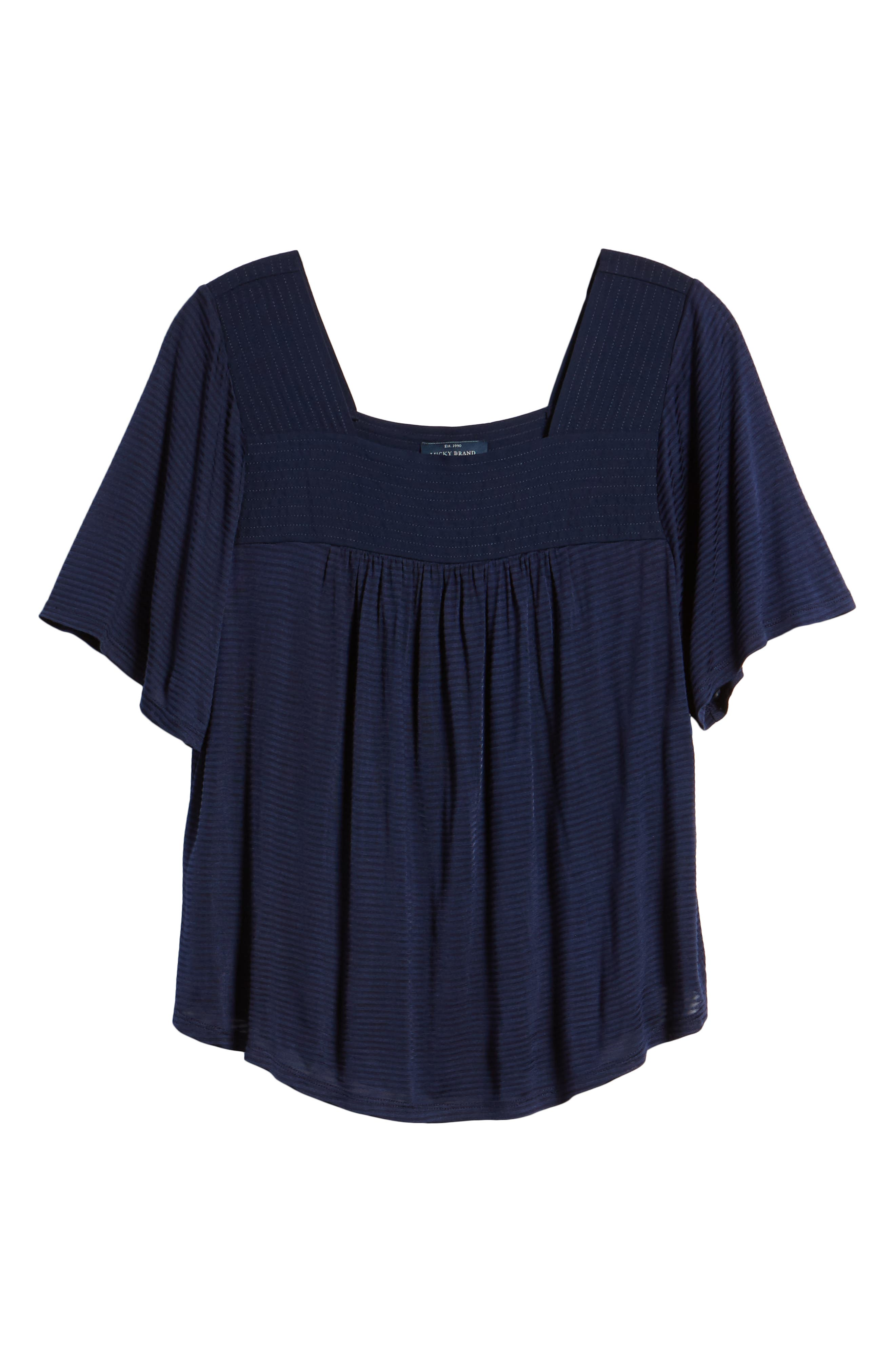 LUCKY BRAND, Shadow Stripe Peasant Top, Alternate thumbnail 6, color, AMERICAN NAVY