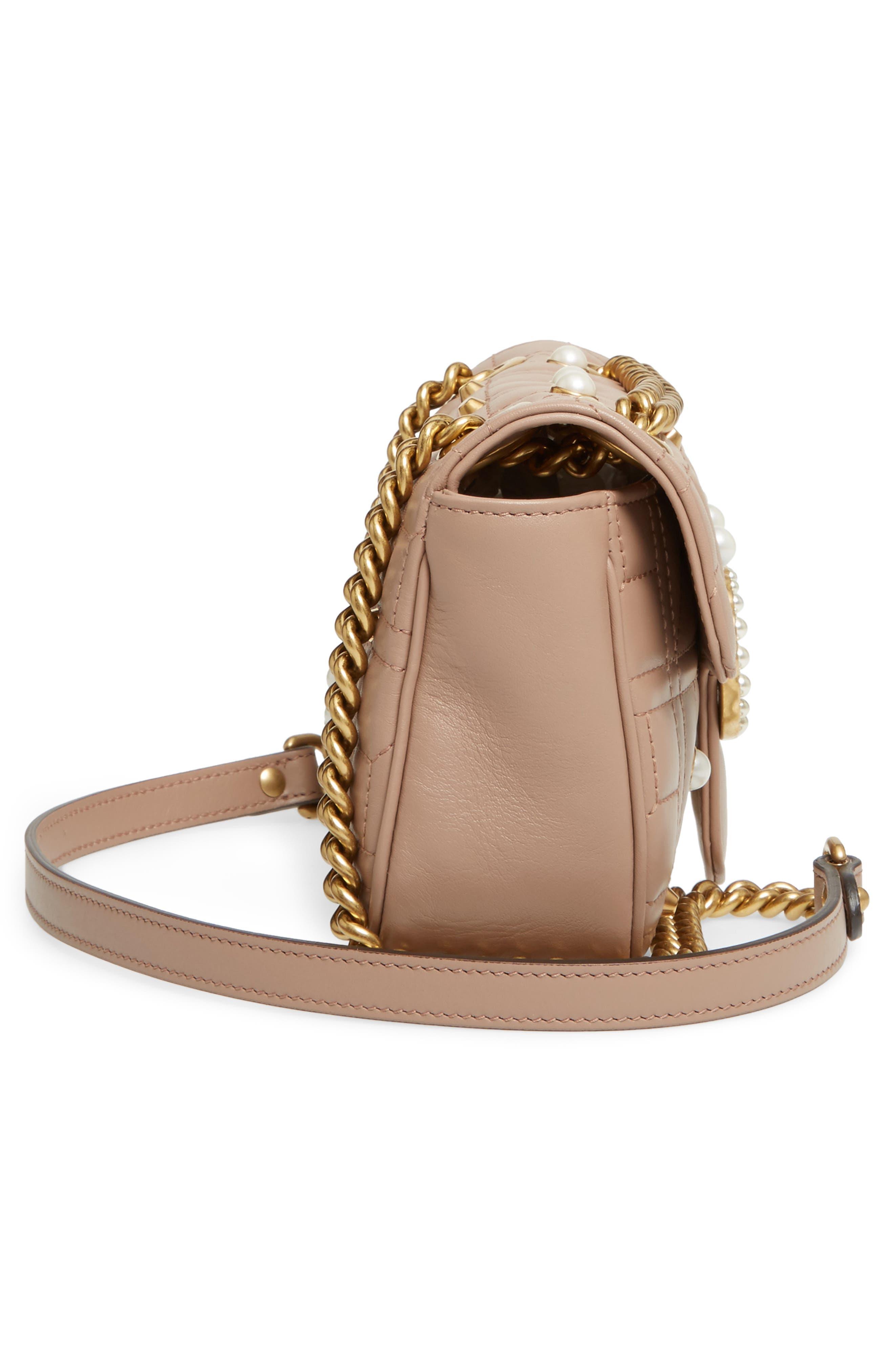 GUCCI, Mini GG Marmont 2.0 Imitation Pearl Logo Matelassé Leather Shoulder Bag, Alternate thumbnail 5, color, 651
