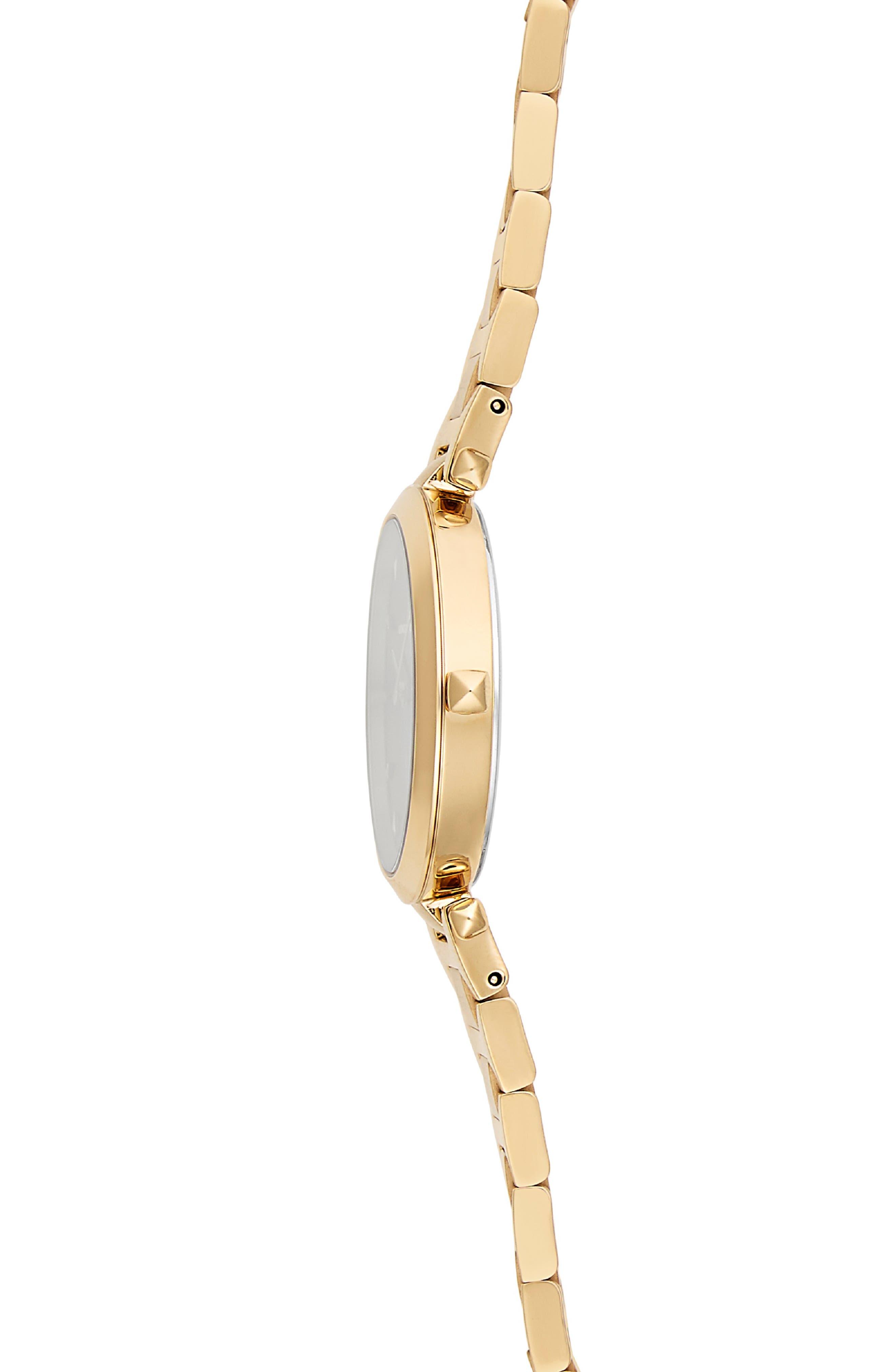 REBECCA MINKOFF, T-Bar Bracelet Strap Watch, 33mm, Alternate thumbnail 3, color, GOLD/ BLACK/ GOLD