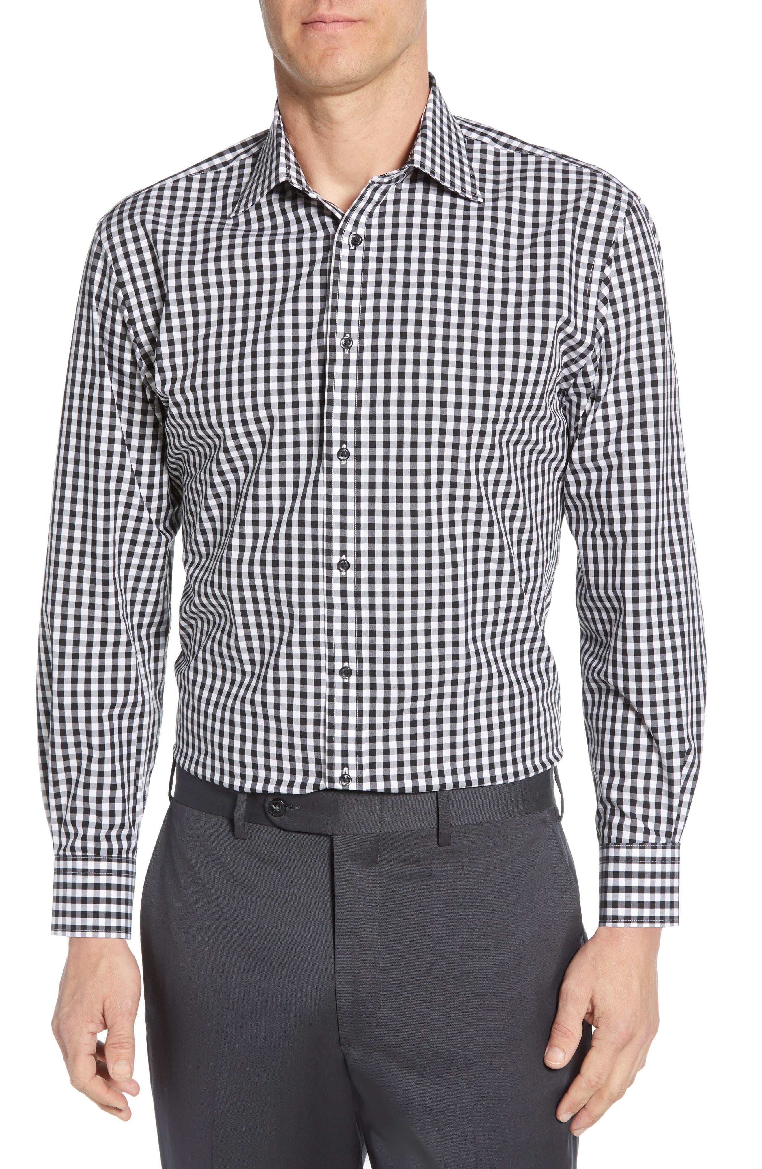 NORDSTROM MEN'S SHOP, Tech-Smart Traditional Fit Stretch Check Dress Shirt, Main thumbnail 1, color, BLACK ROCK