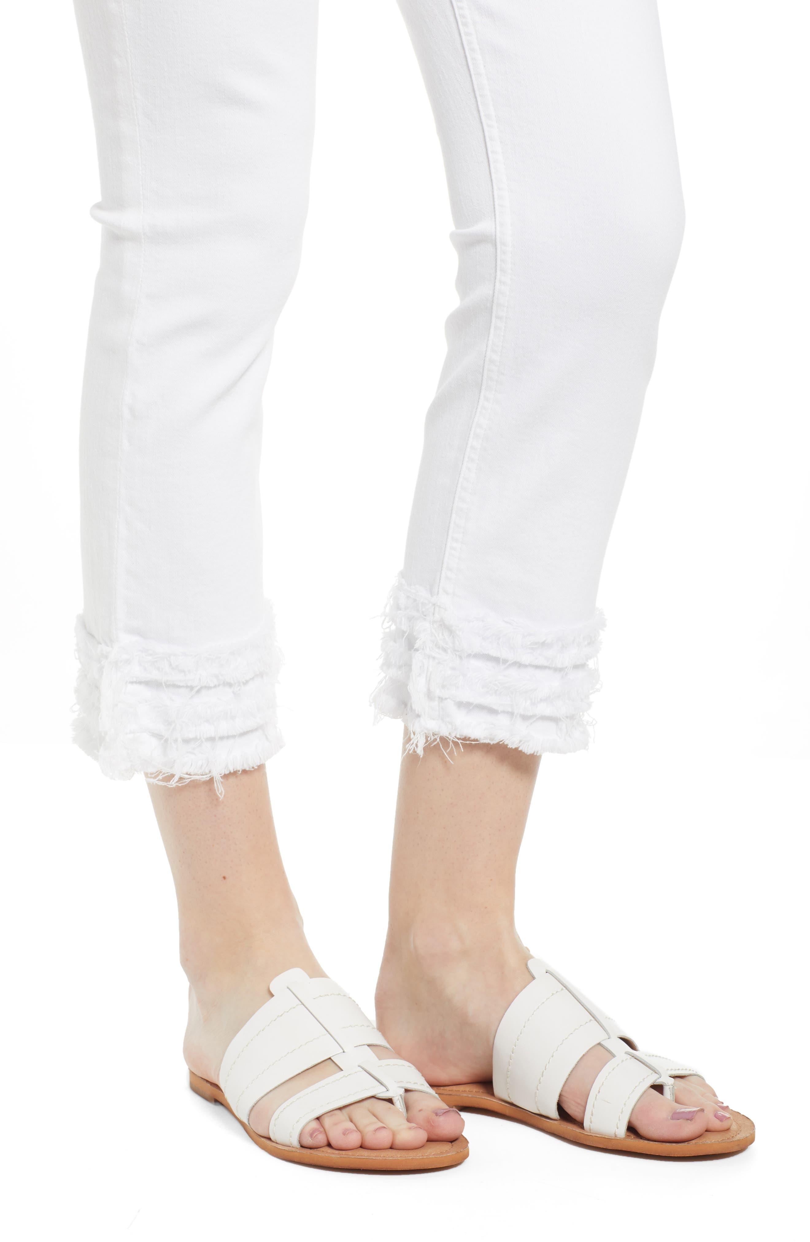 JEN7 BY 7 FOR ALL MANKIND, Fringe Hem Crop Jeans, Alternate thumbnail 5, color, WHITE FASHION