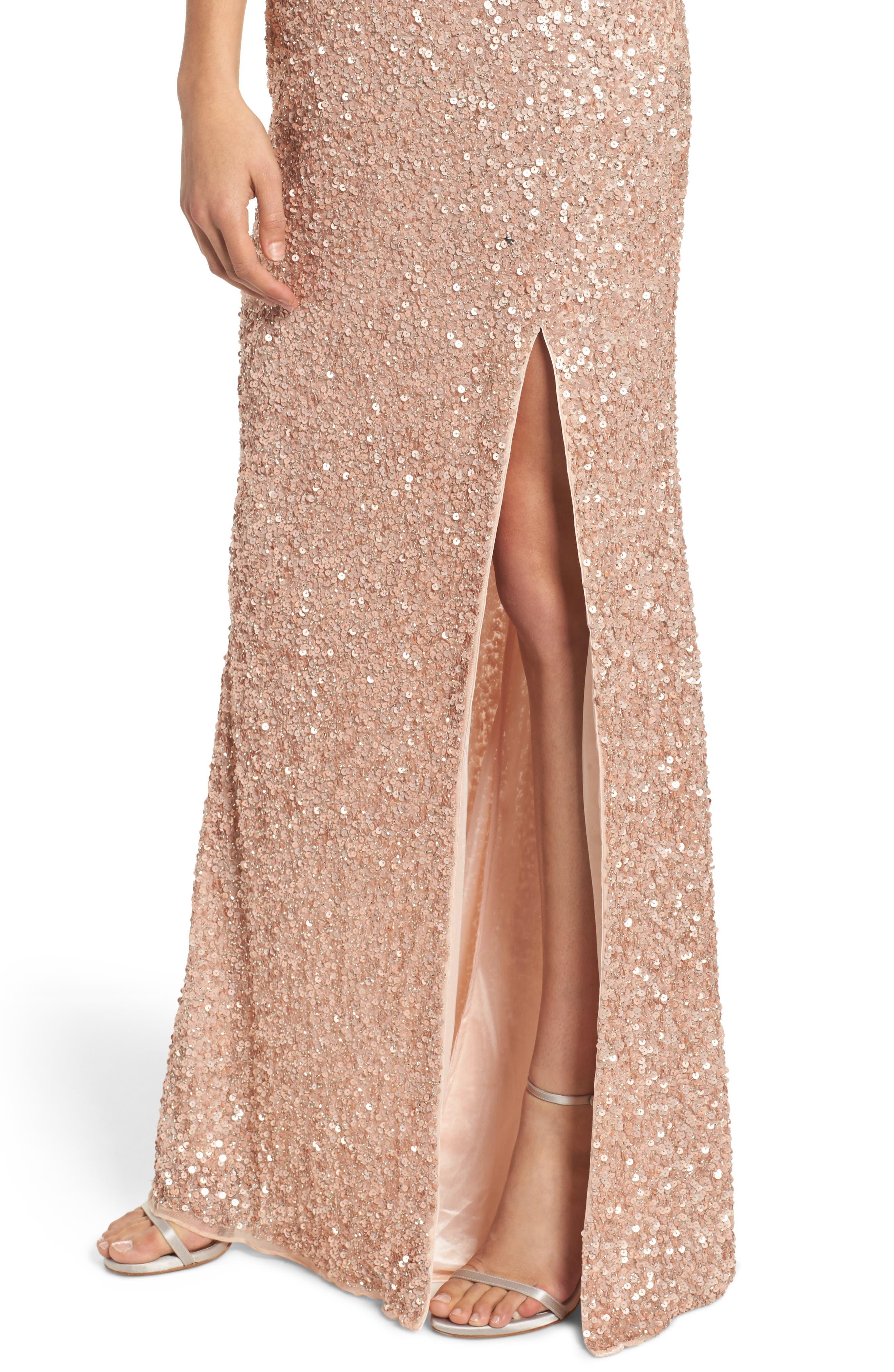 MAC DUGGAL, Sequin Slit Gown, Alternate thumbnail 4, color, ROSE GOLD