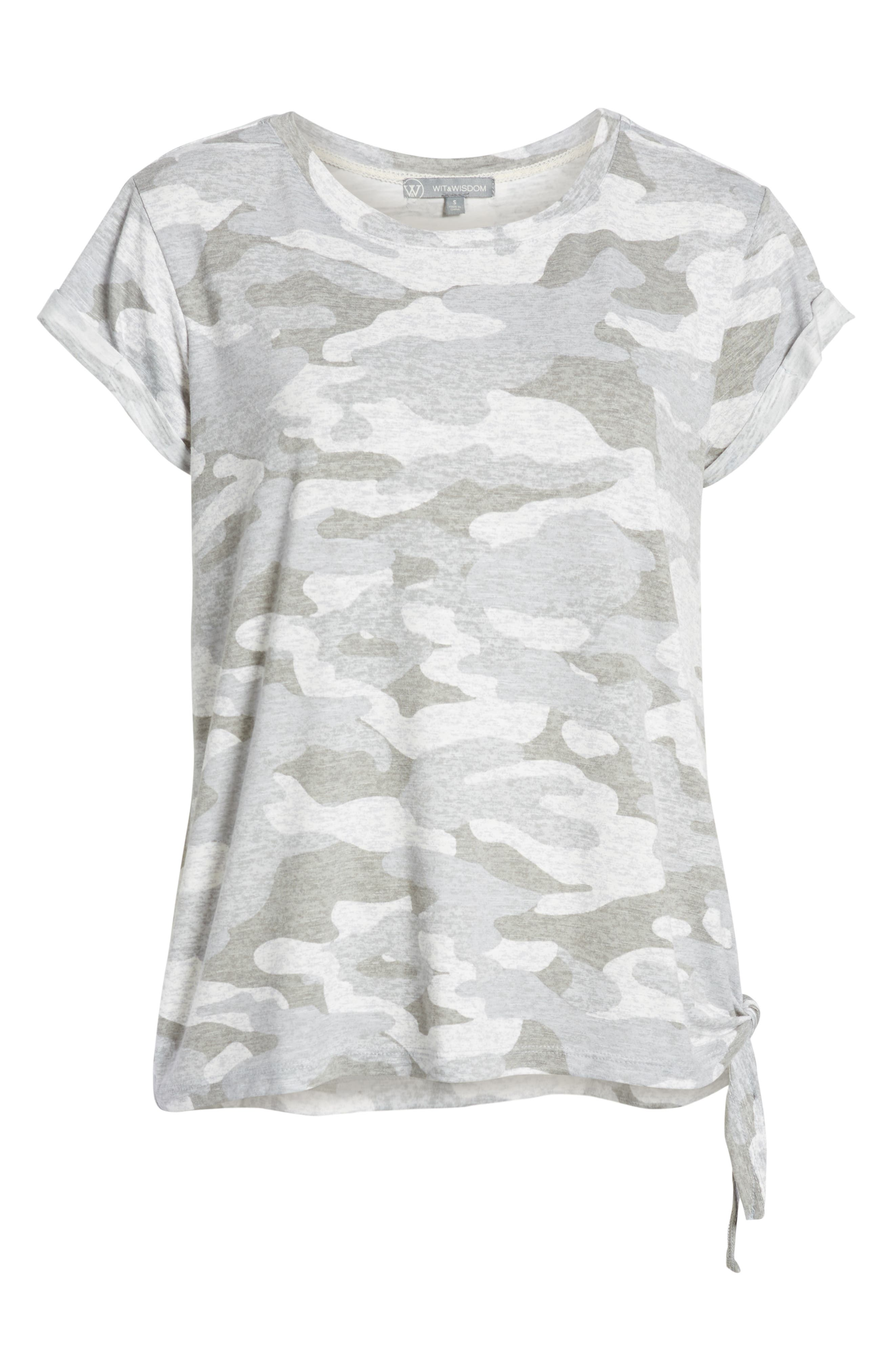 WIT & WISDOM, Tie Waist Tee, Alternate thumbnail 6, color, GREY