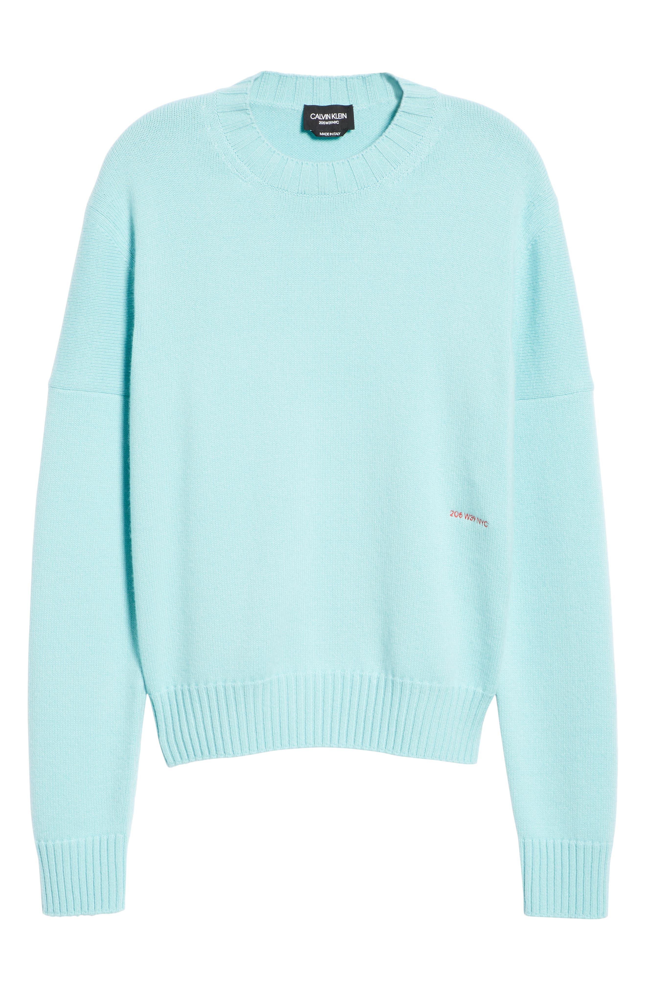 CALVIN KLEIN 205W39NYC, Logo Cashmere Sweater, Alternate thumbnail 7, color, SKY BLUE